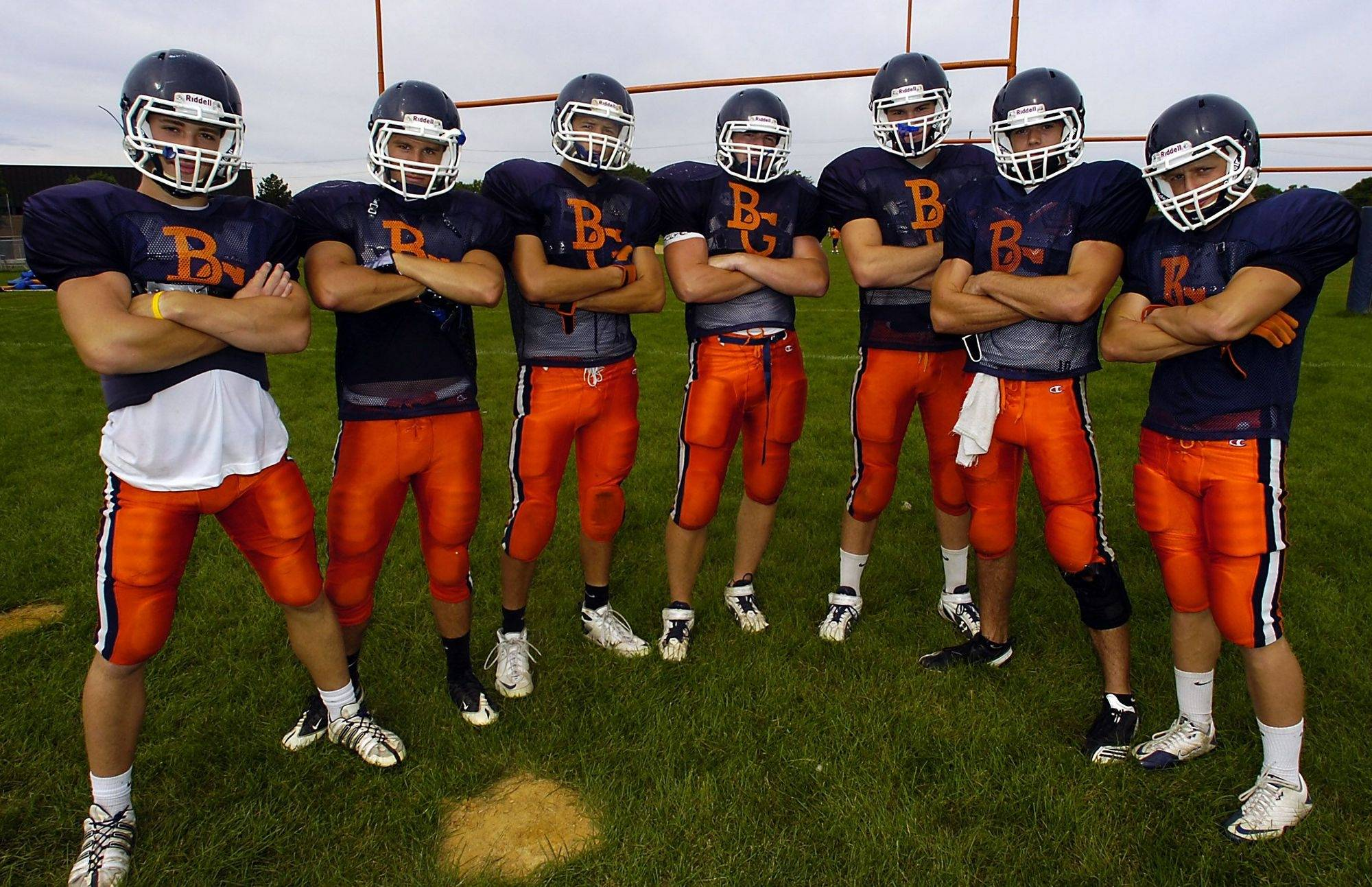 The Buffalo Grove barricade, quarterback Mike Garrity, Tyler Juckett, Dan Recht, Joe Damisch, Jeff Zabrin, Brian Akialis and Jeff Tennenbaum.