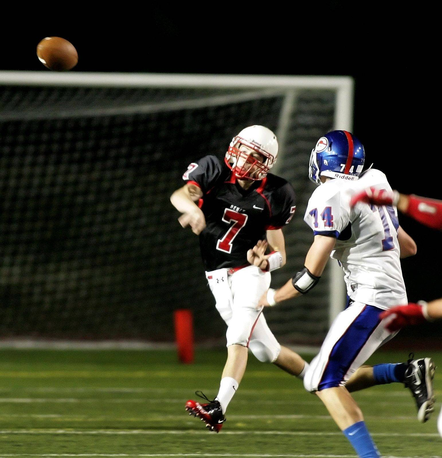 WEEK 5- Quarterback TJ Rickert of Benet passes against Glenbard South.