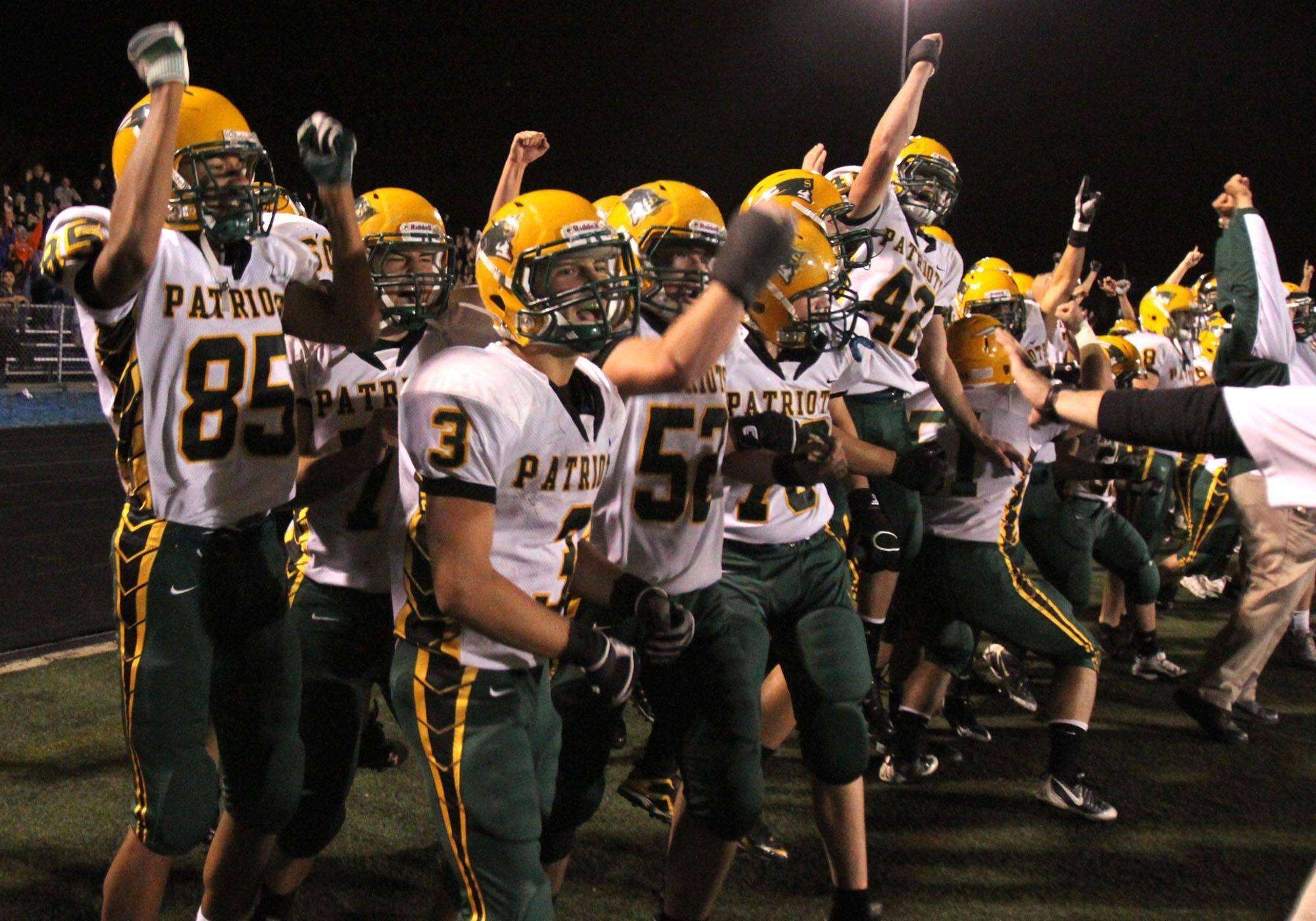 WEEK 6- Stevenson celebrates winning 24-23 at Lake Zurich.
