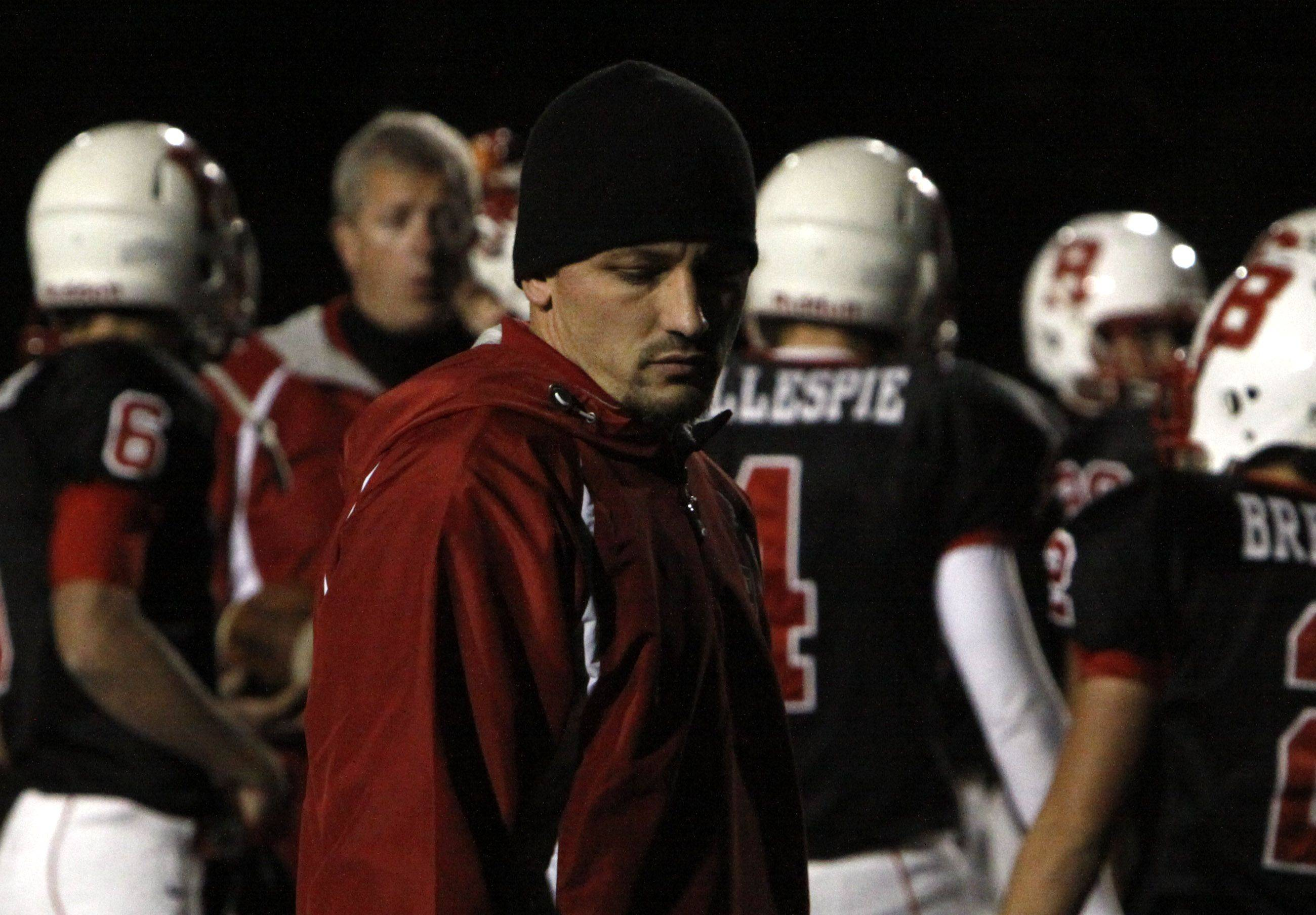 Defensive Coach Brandon New of Benet Academy during the game against Joliet Catholic Academy Thursday night in Lisle.
