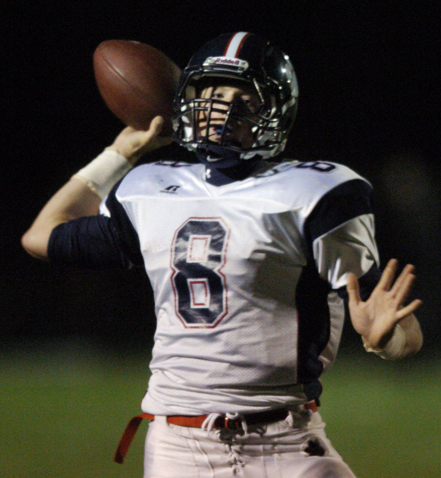 WEEK 9- Conant quarterback Matt Cullen throws a pass against Fremd.