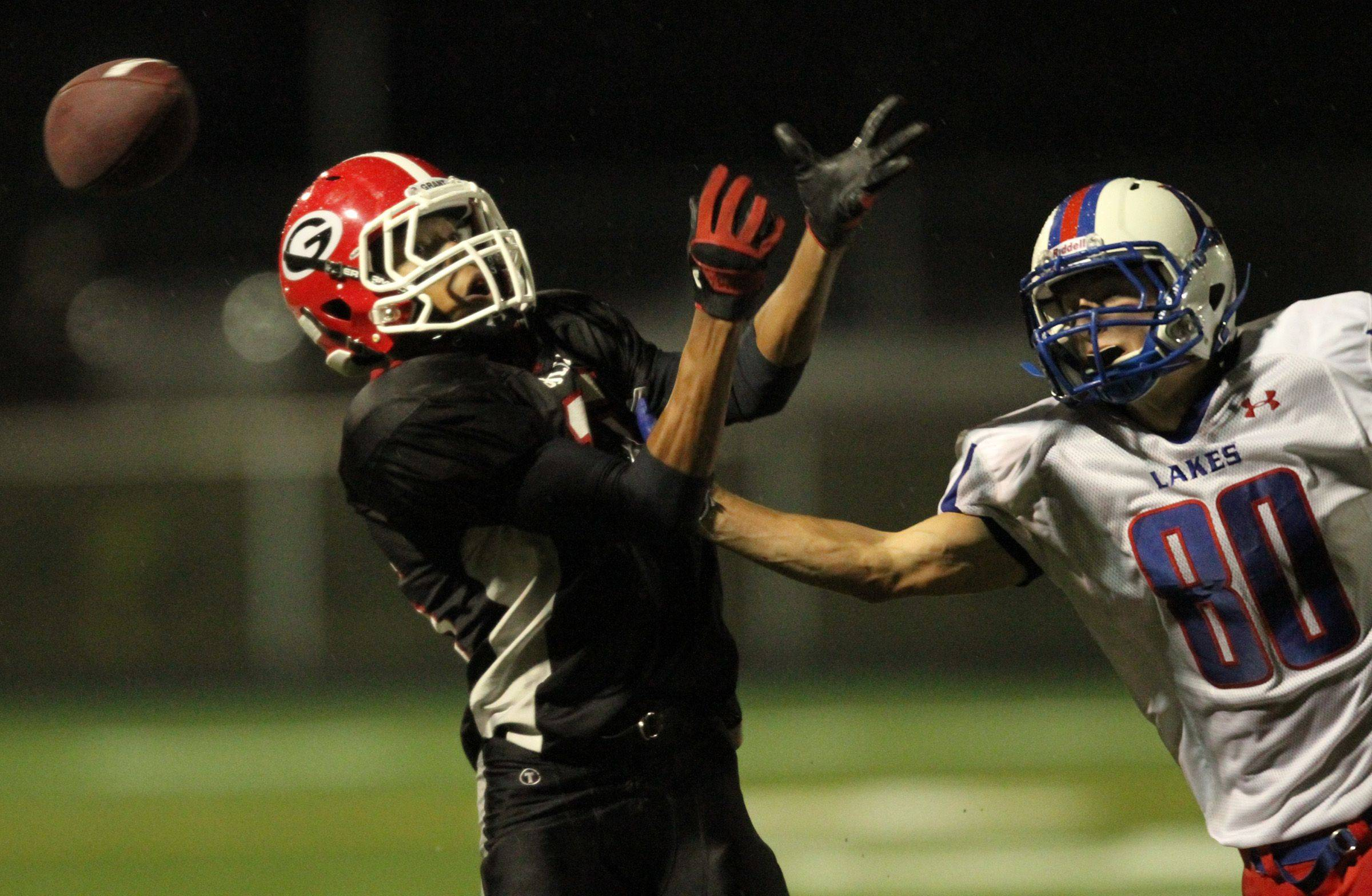 WEEK 9- Grant's Keion Miller tries to snag a pass against Lakes defender Josh Pohlman.