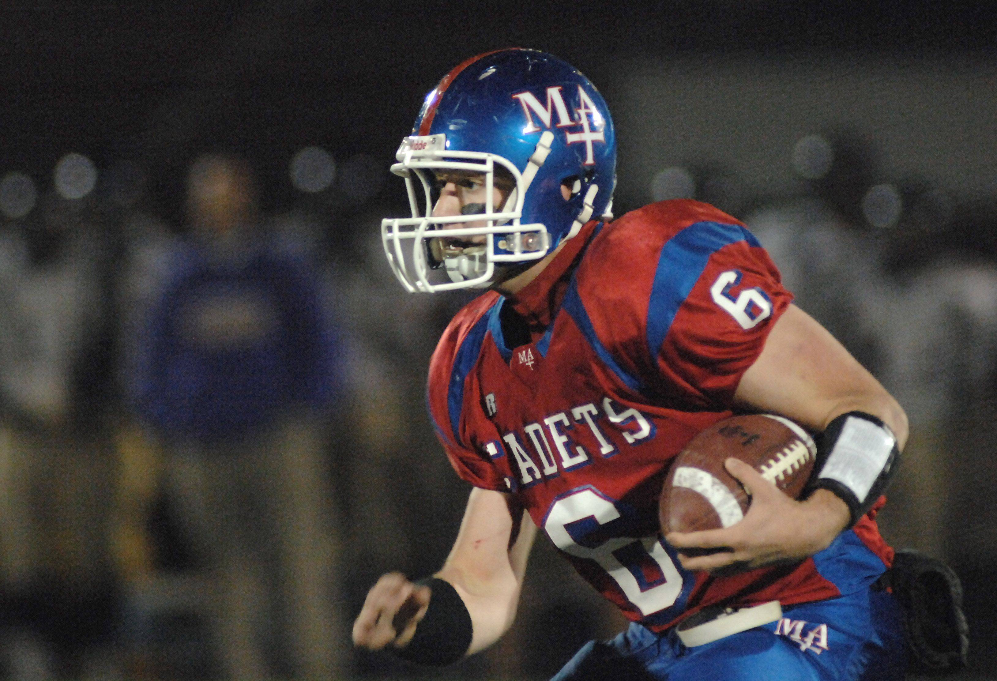 Marmion's Mike Carbonara makes a run in the first quarter of game vs Thorton Fractional North on Friday, October 29.