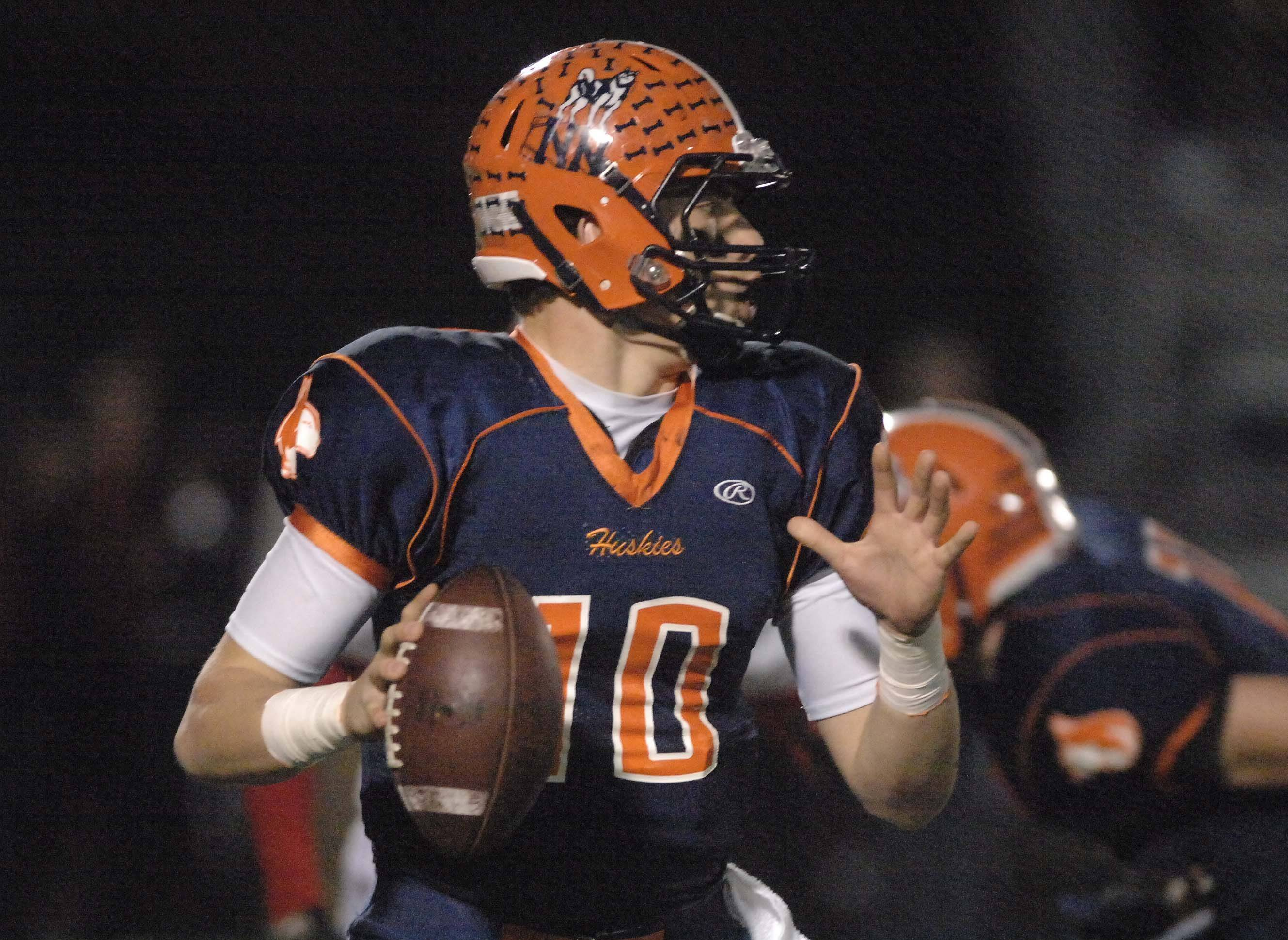 Matt Lacosse of Naperville North looks to pass.
