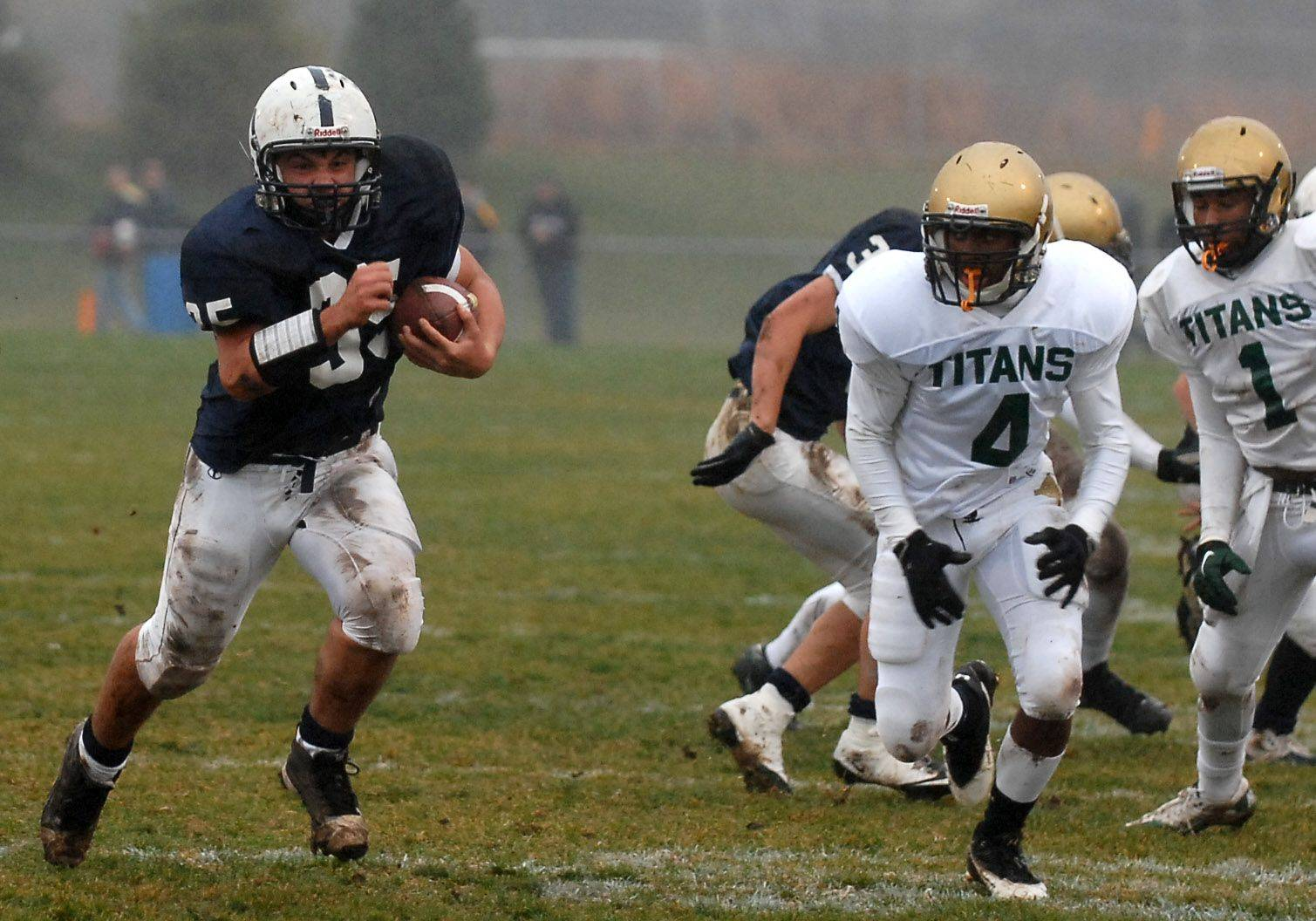 Cary-Grove's Patrick O'Malley runs to daylight against Rockford Boylan during Saturday's playoff game in Cary.
