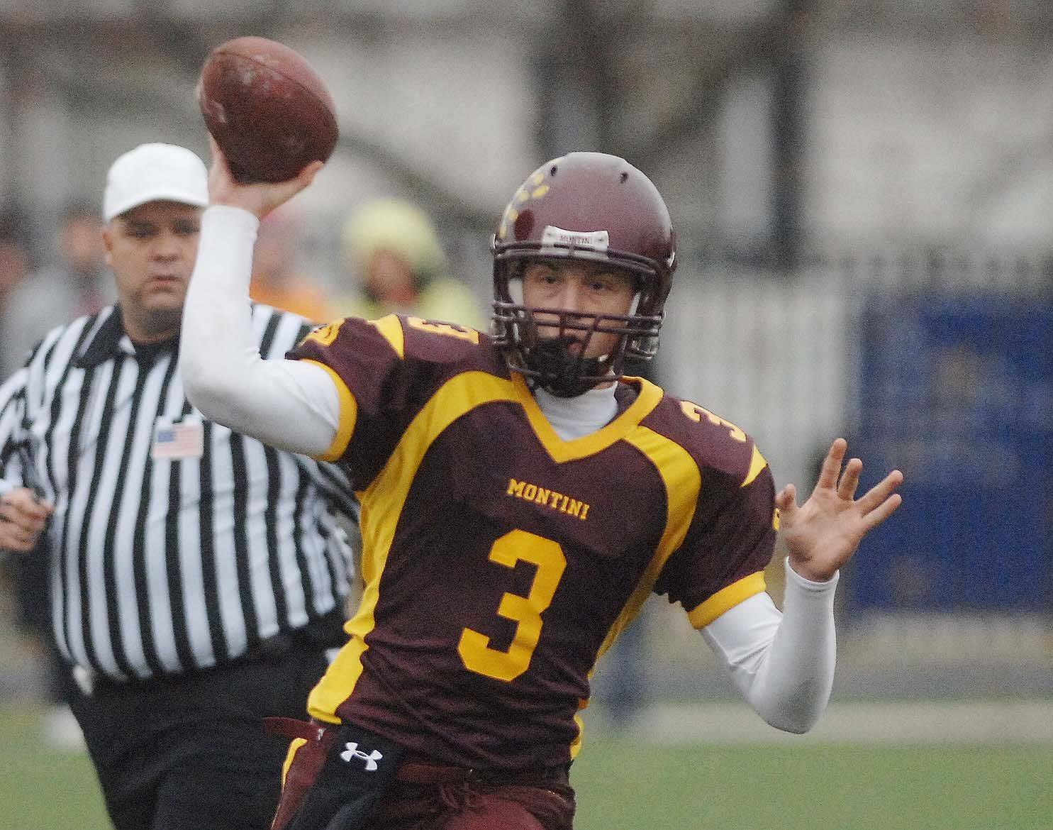 Matt Westerkamp of Montini fires one during the Marian Central vs. Montini game in Elmhurst Saturday.