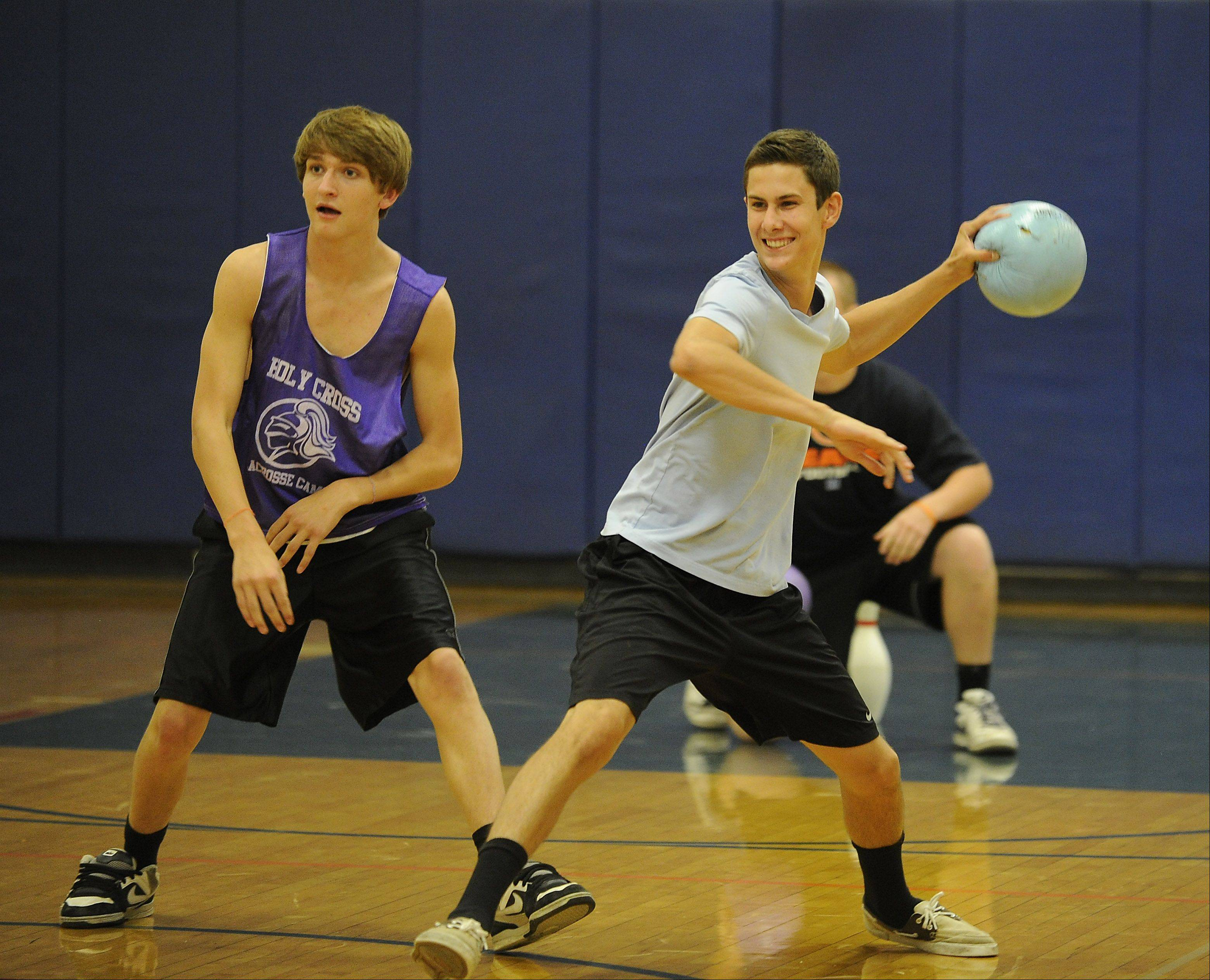 Sean Milbourne, 20, of Libertyville prepares to fling the dodgeball at a foe.