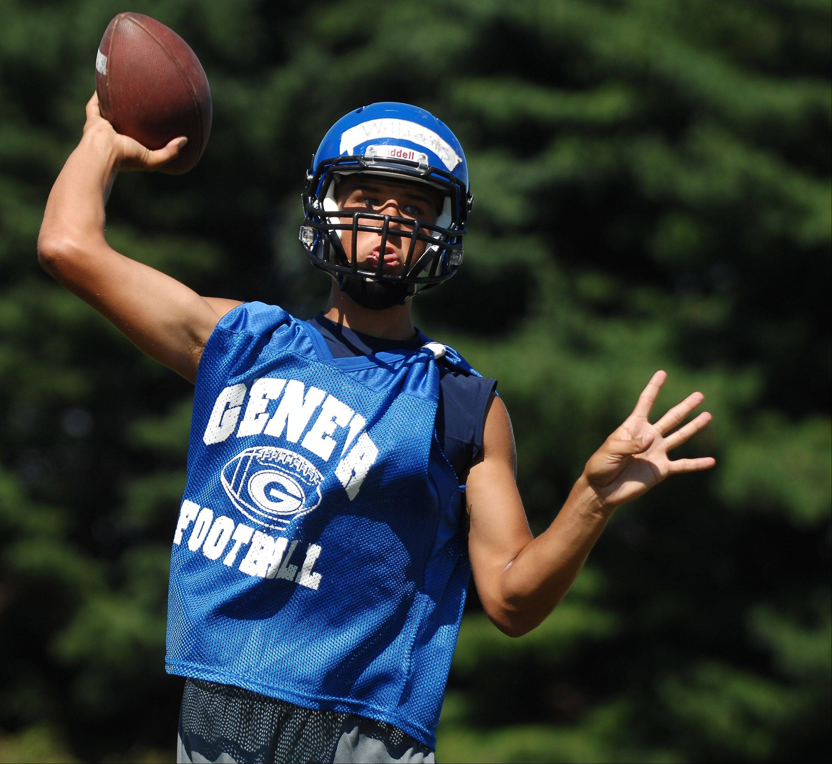 Quarterback Matt Williams fires a pass during the first day of football practice for Geneva High School at the former Broadview Academy site in La Fox Wednesday.