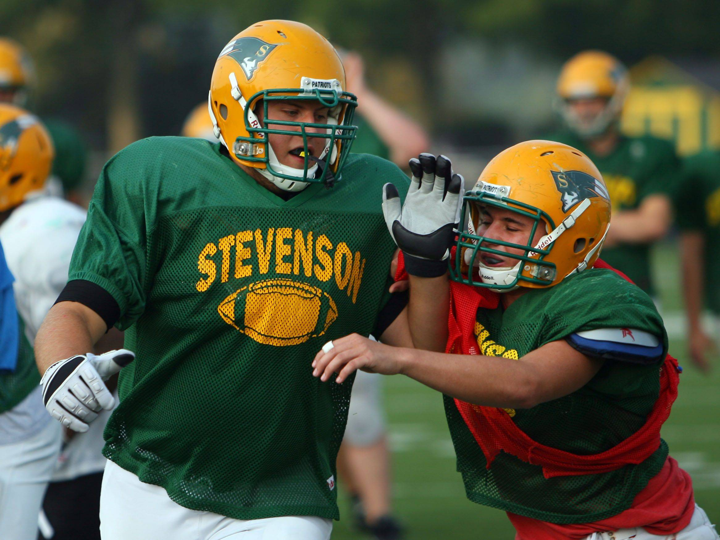 Stevenson senior offensive tackle Jake Hurcombe goes through practice Tuesday in Lincolnshire. Hurcombe has committed to Eastern Michigan.