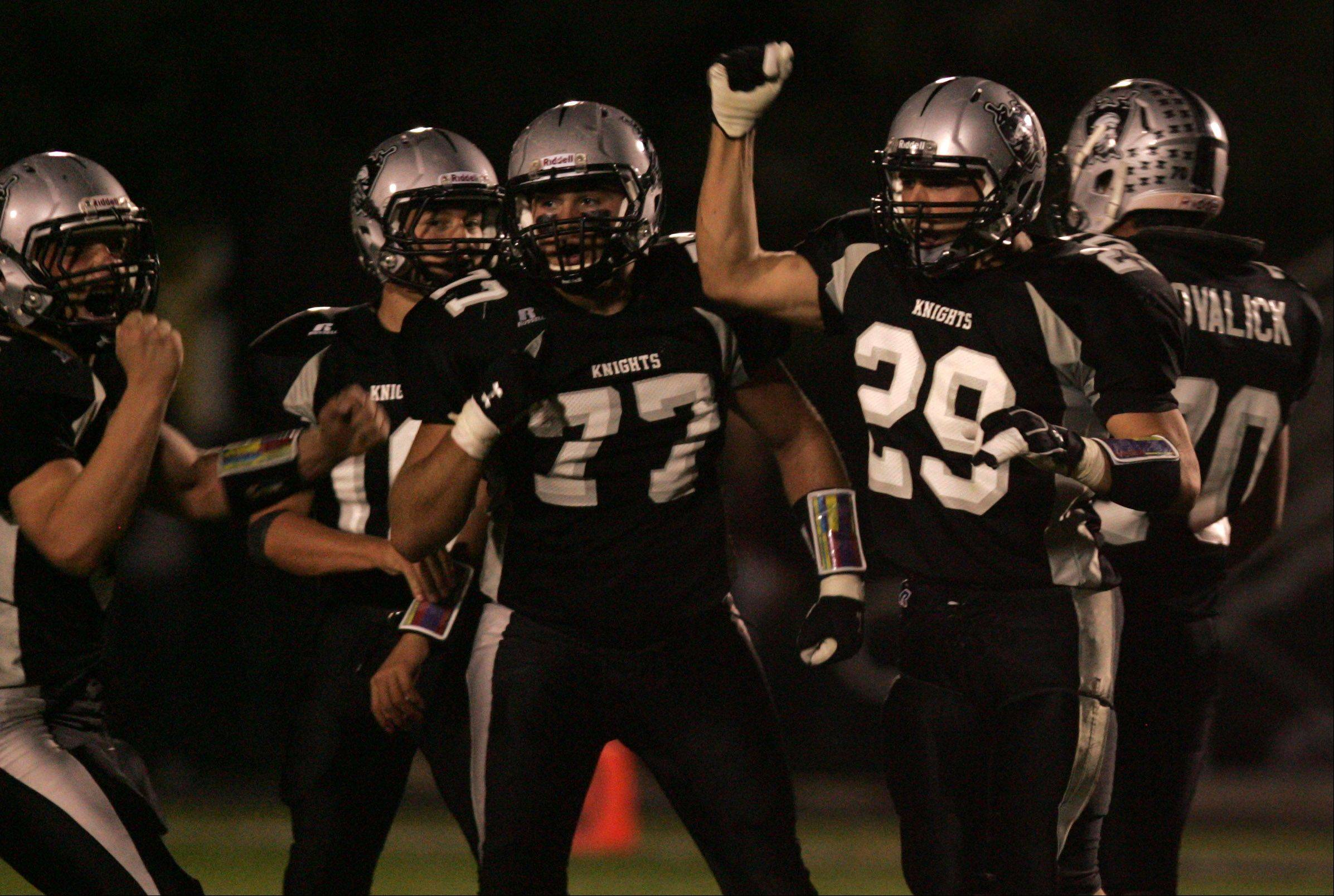 Week 7- Kaneland's Ryan Lawrence celebrates after making a stop against Yorkville.