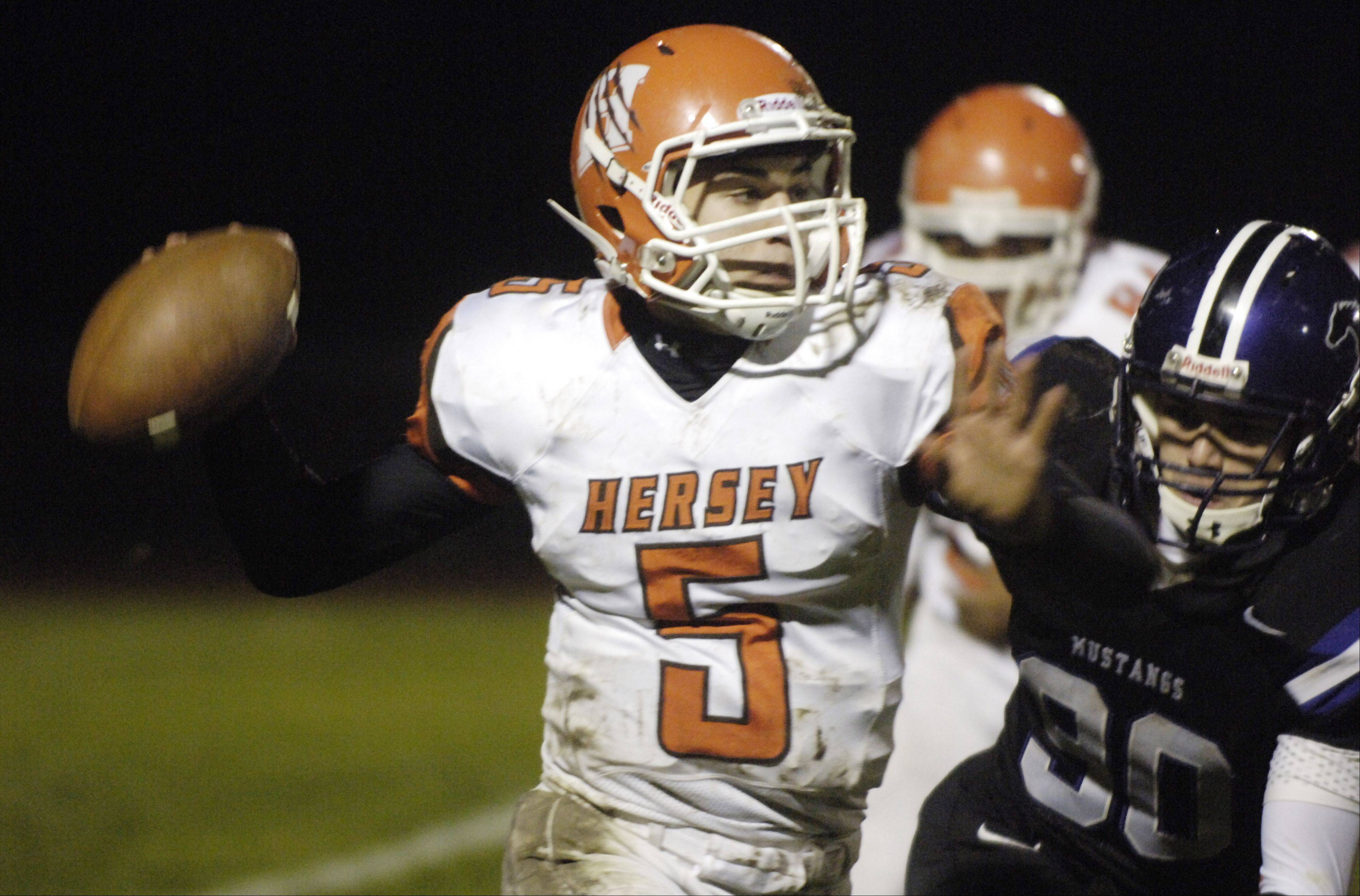 Week 9- Hersey quarterback Brad Zaucha throws a pass.