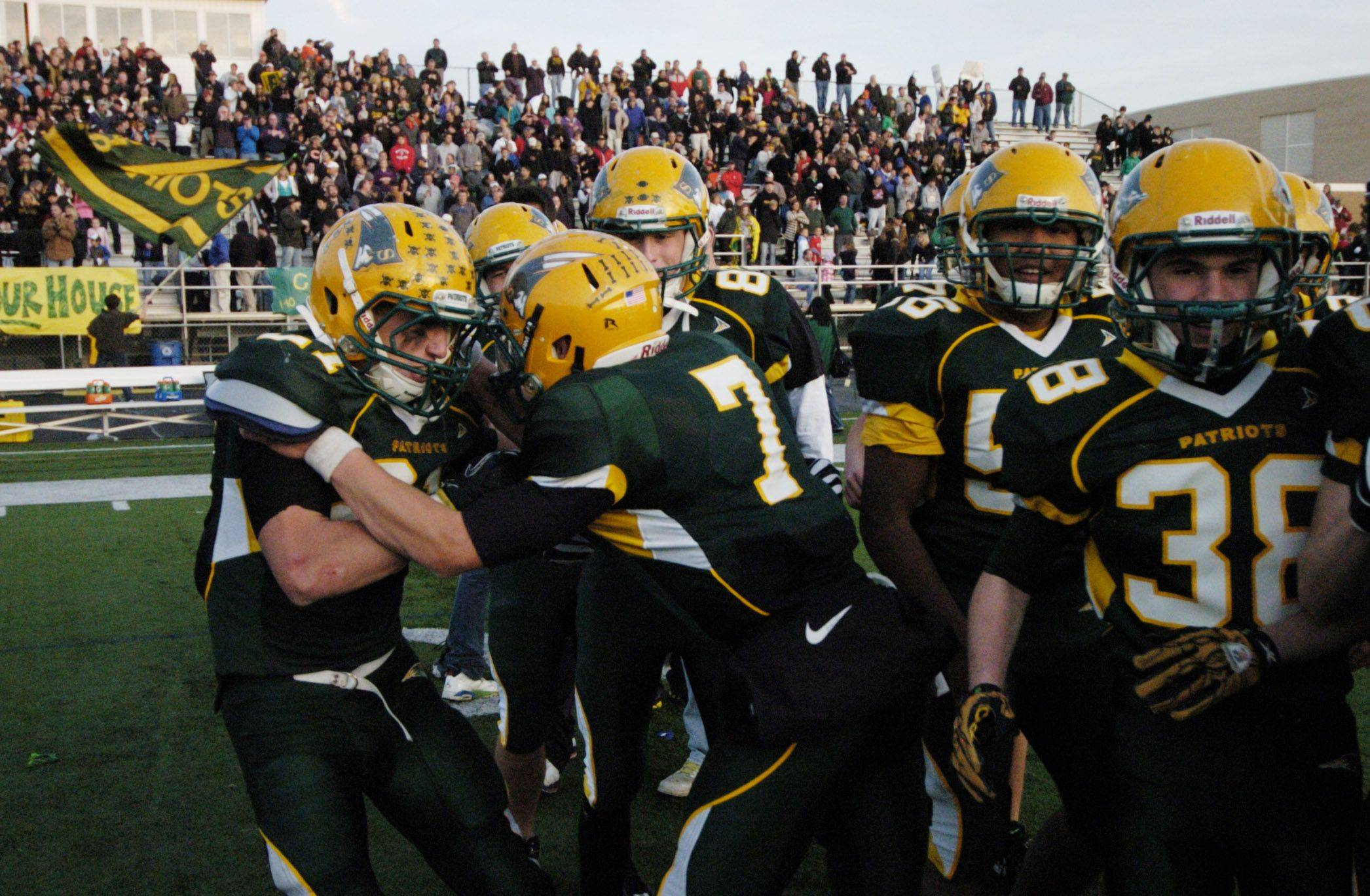 Stevenson's Jon Way, left, and Matt Micucci celebrate their team's victory over Maine South Saturday.
