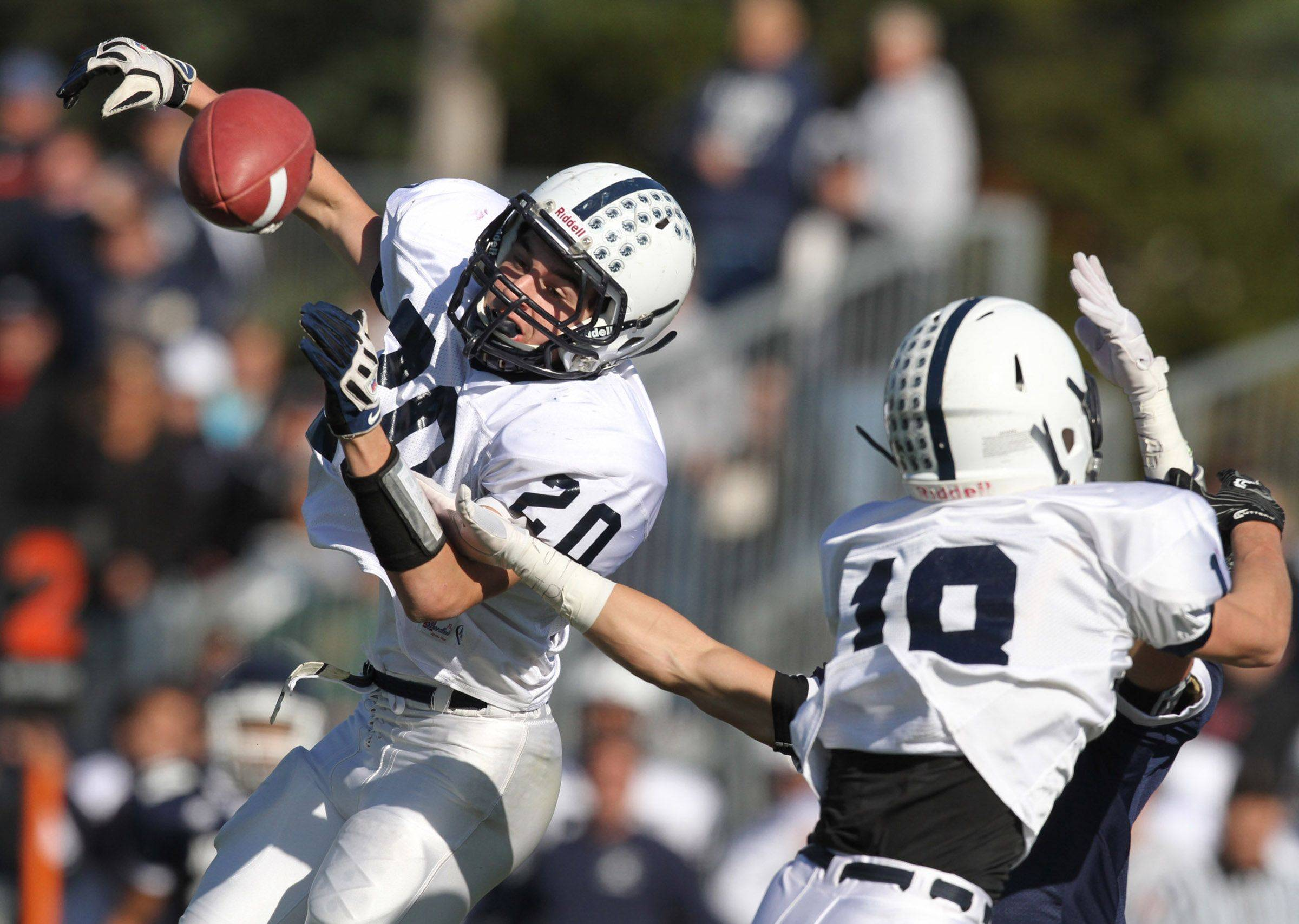 Cary-Grove defensive-back Sean Keadyjust missed intercepting this pass by Nazareth Academy quarterback on Saturday, November 5th.
