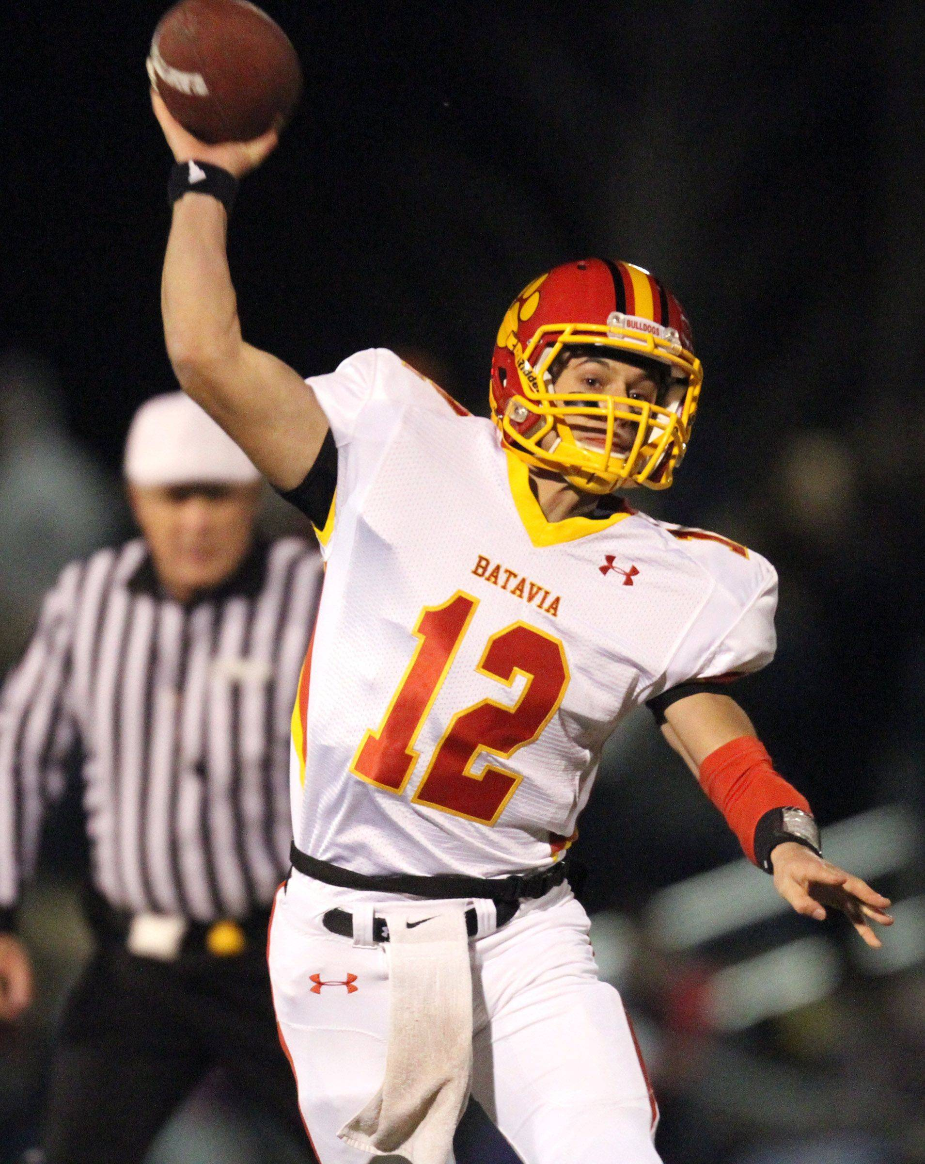 Batavia's quarterback throws the ball during the first half at Lakes on Saturday, November 12th.