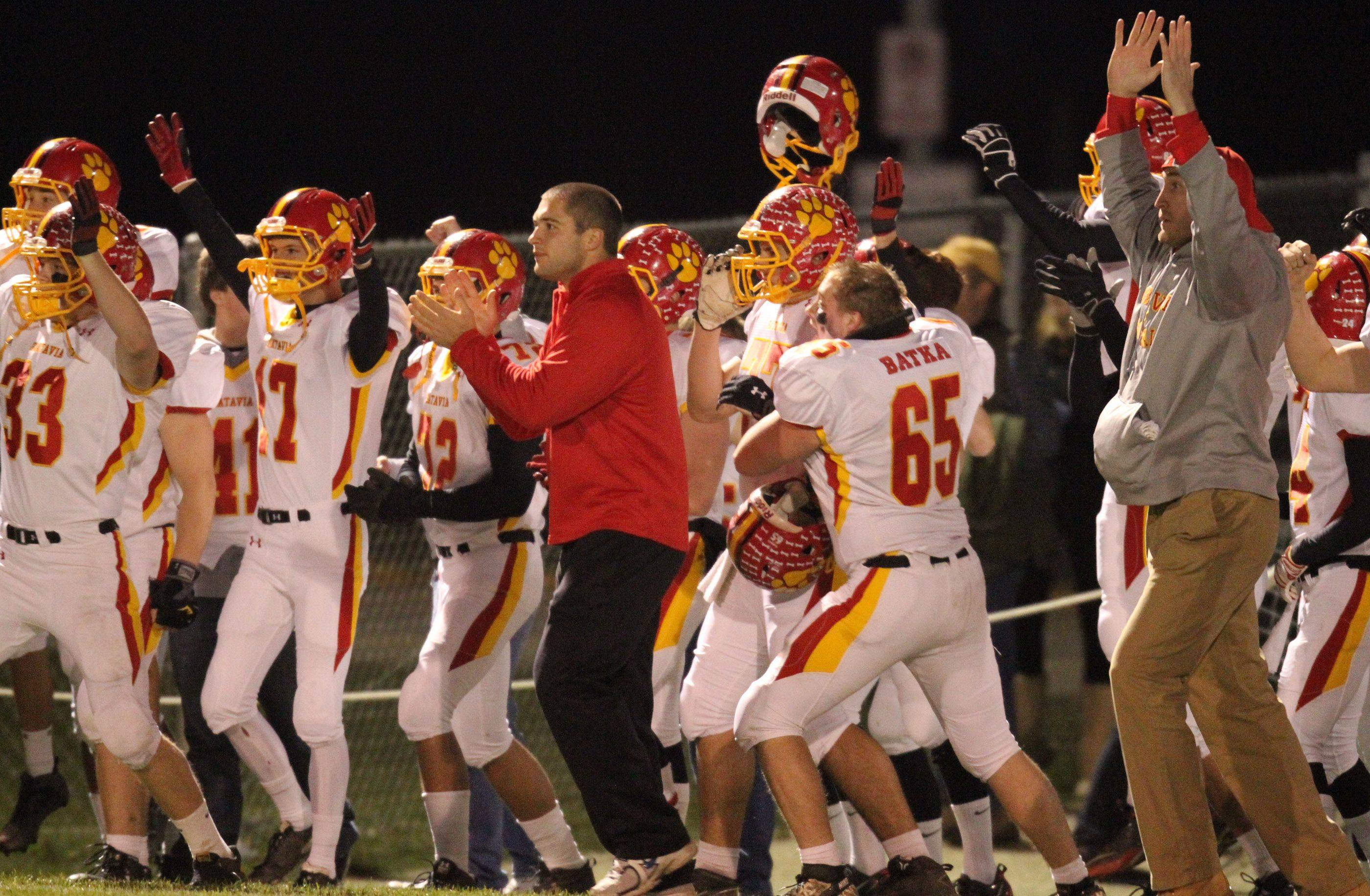 Batavia sideline celebrates a touchdown early in the first quarter at Lakes on Saturday, November 12th.