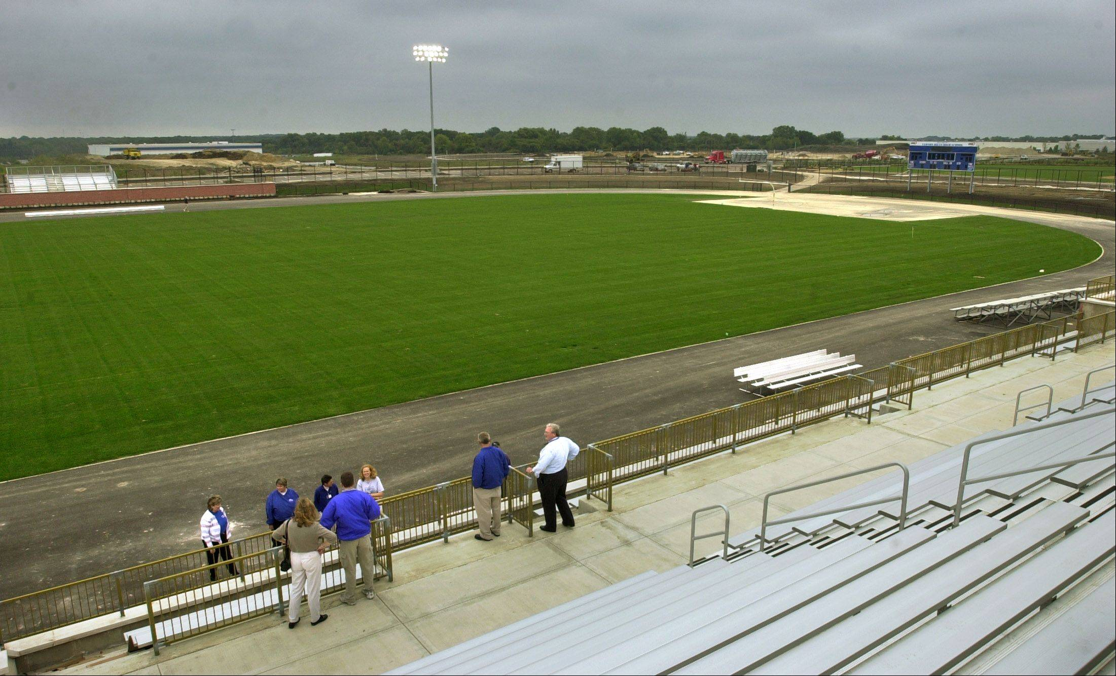 The Vernon Hills High School football stadium opened in 2002. A community group is raising money to replace the grass with a longer-lasting artificial material.