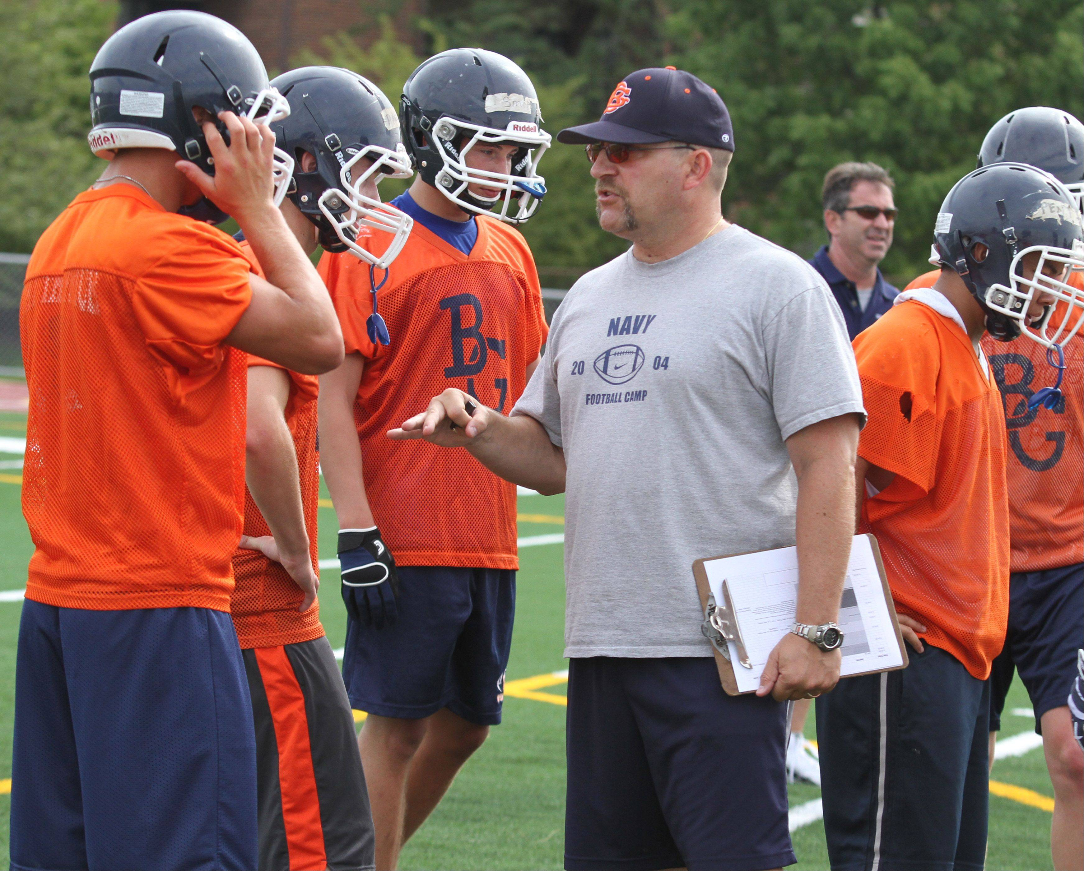 Buffalo Grove's new head coach, Mike DiMatteo, runs his first day of practice Wednesday.