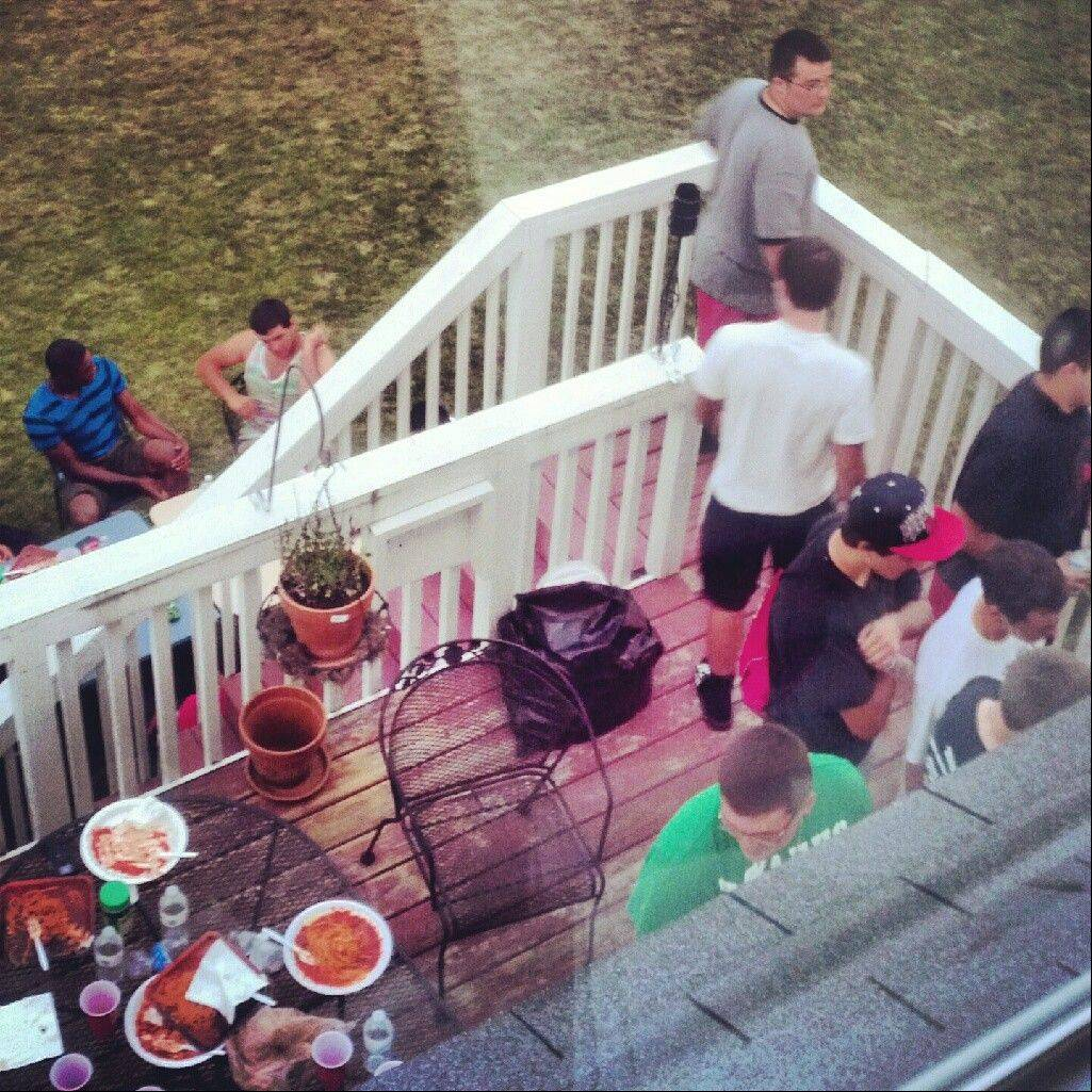 Grant's unfortunate preseason episode, which occurred on this deck, has turned into a bonding experience for the program.