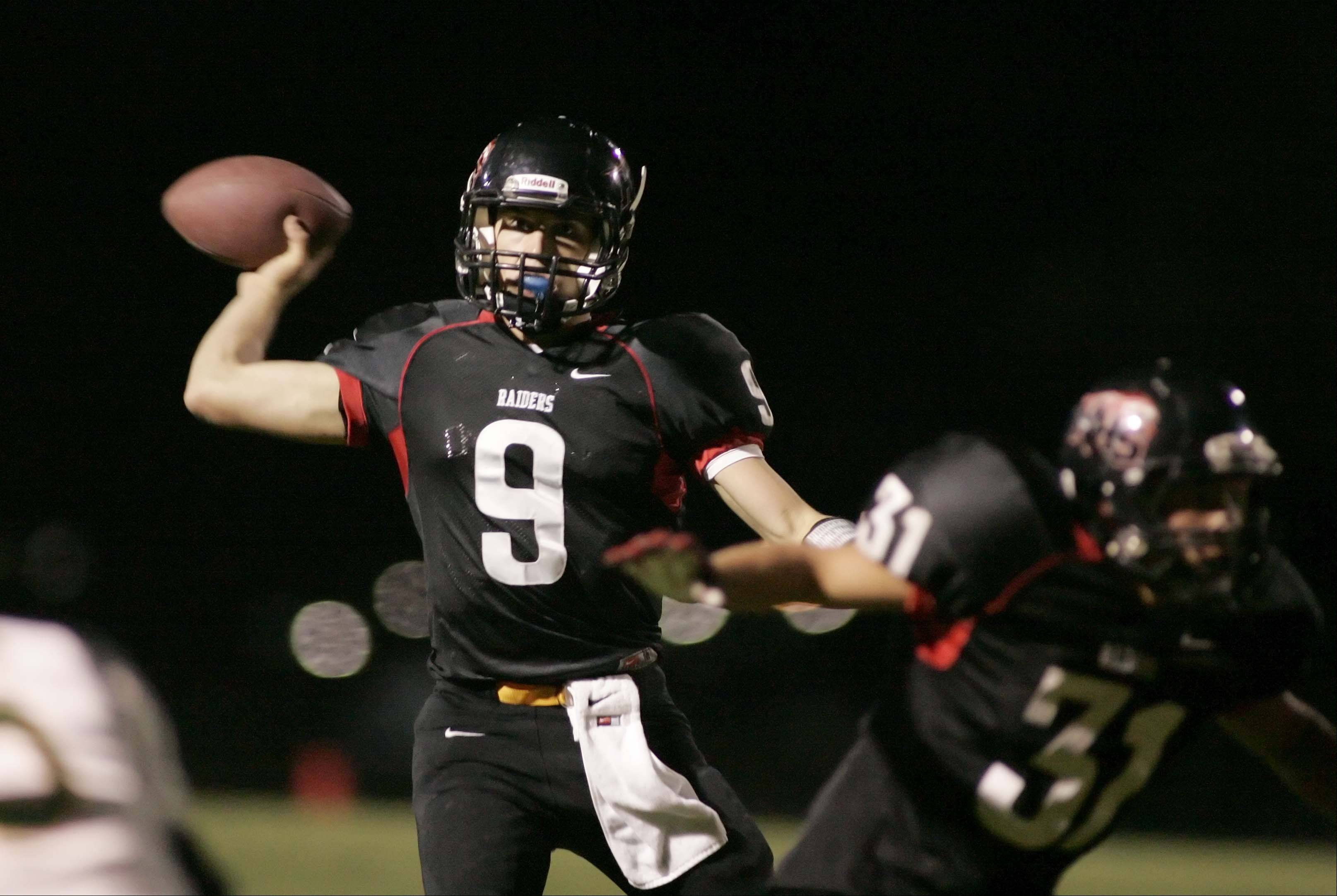 Huntley quarterback Kameron Sallee throws a touchdown pass in the second quarter.