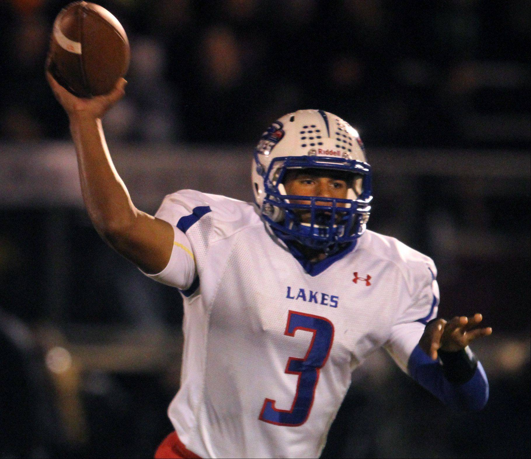 Lakes quarterback T.J. Edwards passes against Antioch.