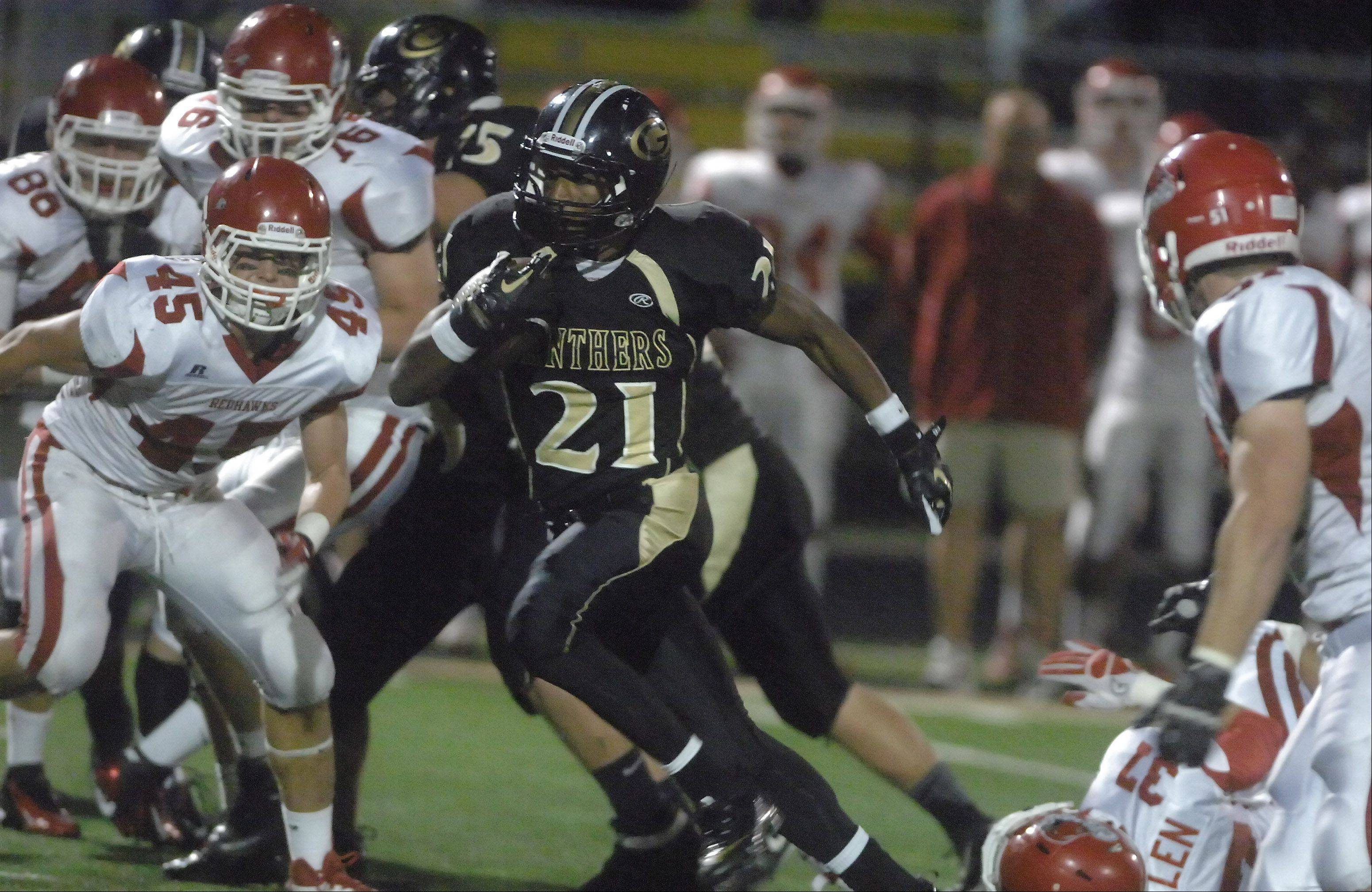 Justin Jackson of Glenbard North moves the ball.