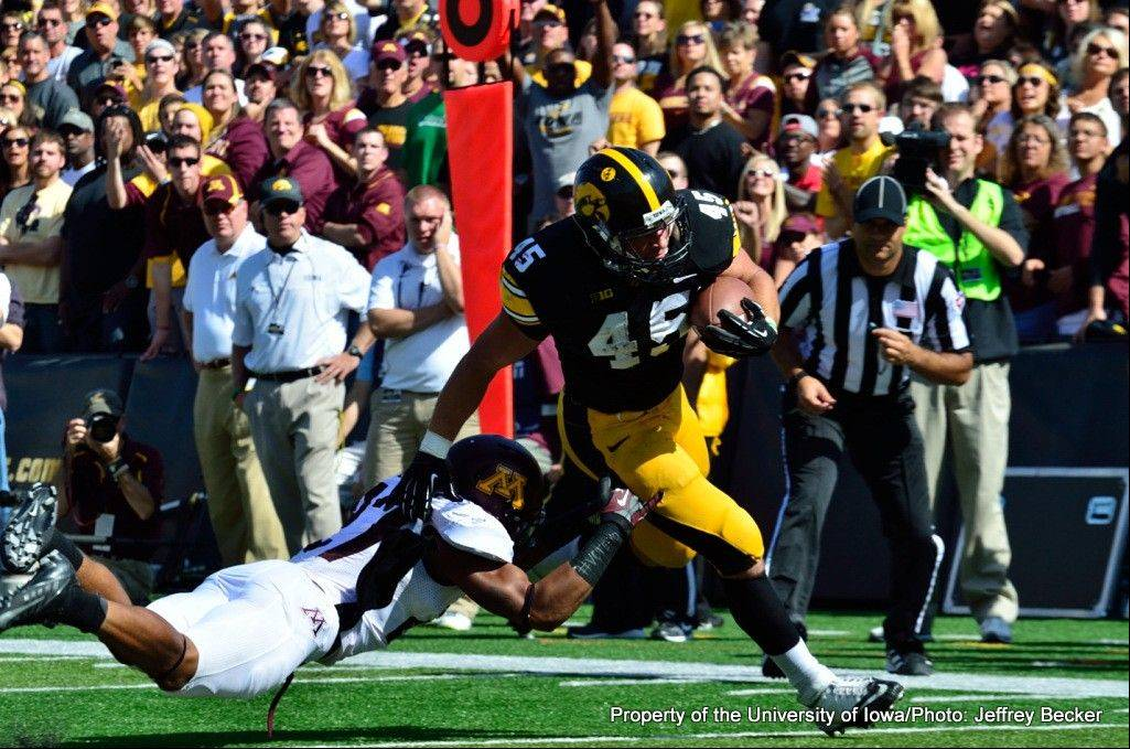 Stevenson product Mark Weisman picked up 8 yards per carry in Iowa's 31-13 victory over Minnesota last weekend.