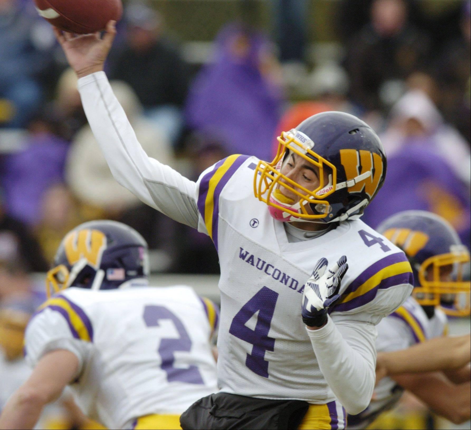 Wauconda quarterback Austin Swenson throws a pass during Saturday's game against Round Lake.