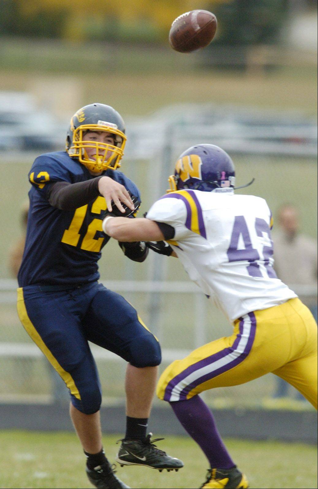 Round Lake quarterback John Ridley releases a pass as Wauconda's Graham Miller closes in during Saturday's game.