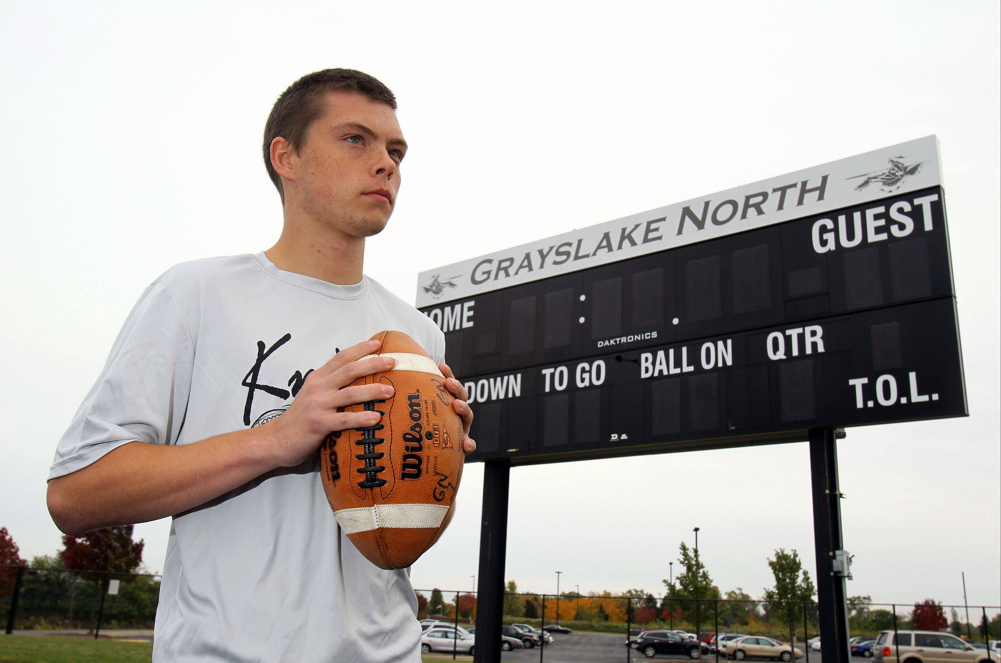 Former Grayslake North defensive back Jake Geary has taken on the role of assistant coach after graduating last spring.