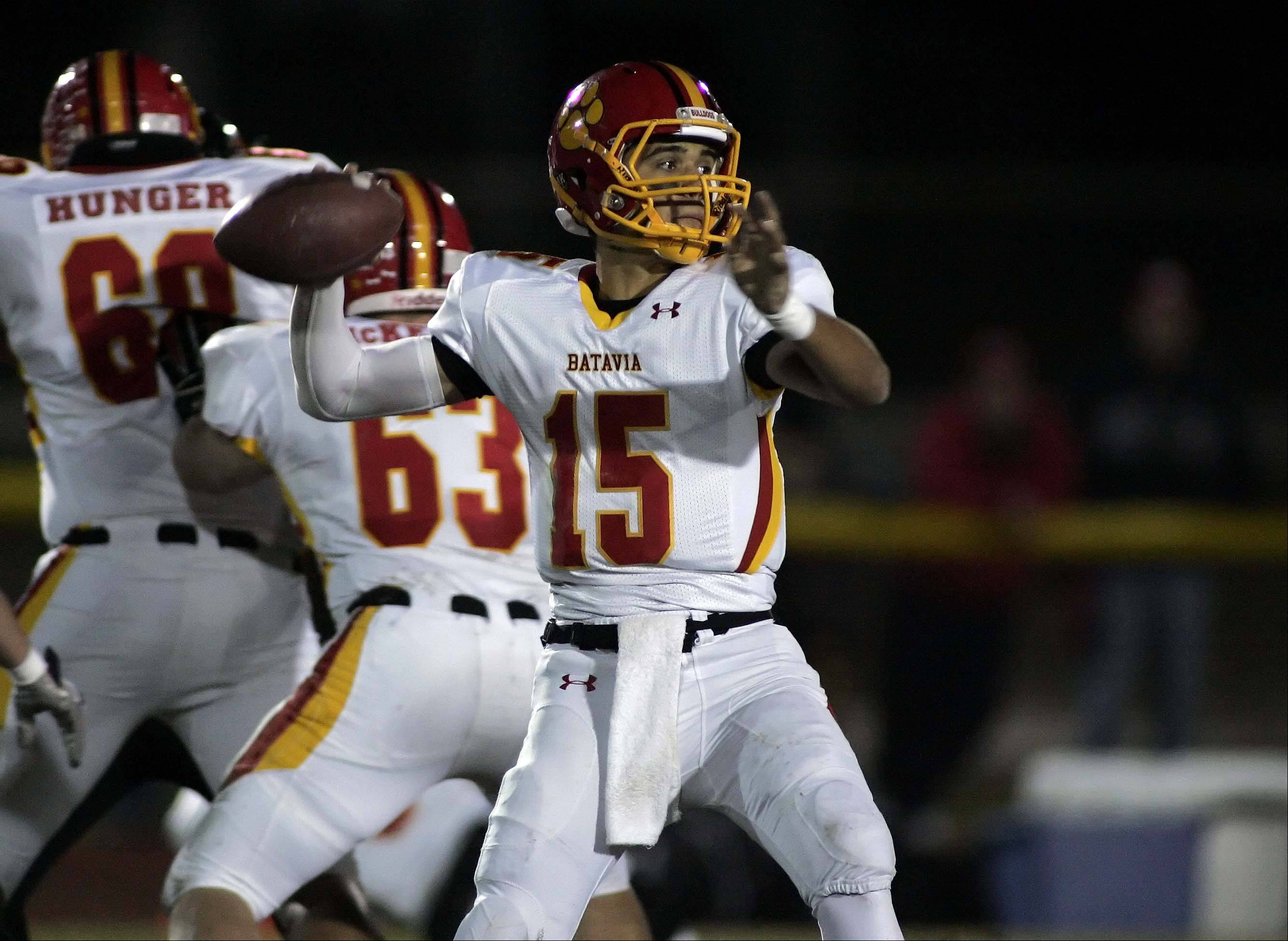 Batavia's Micah Coffey looks for an open receiver.