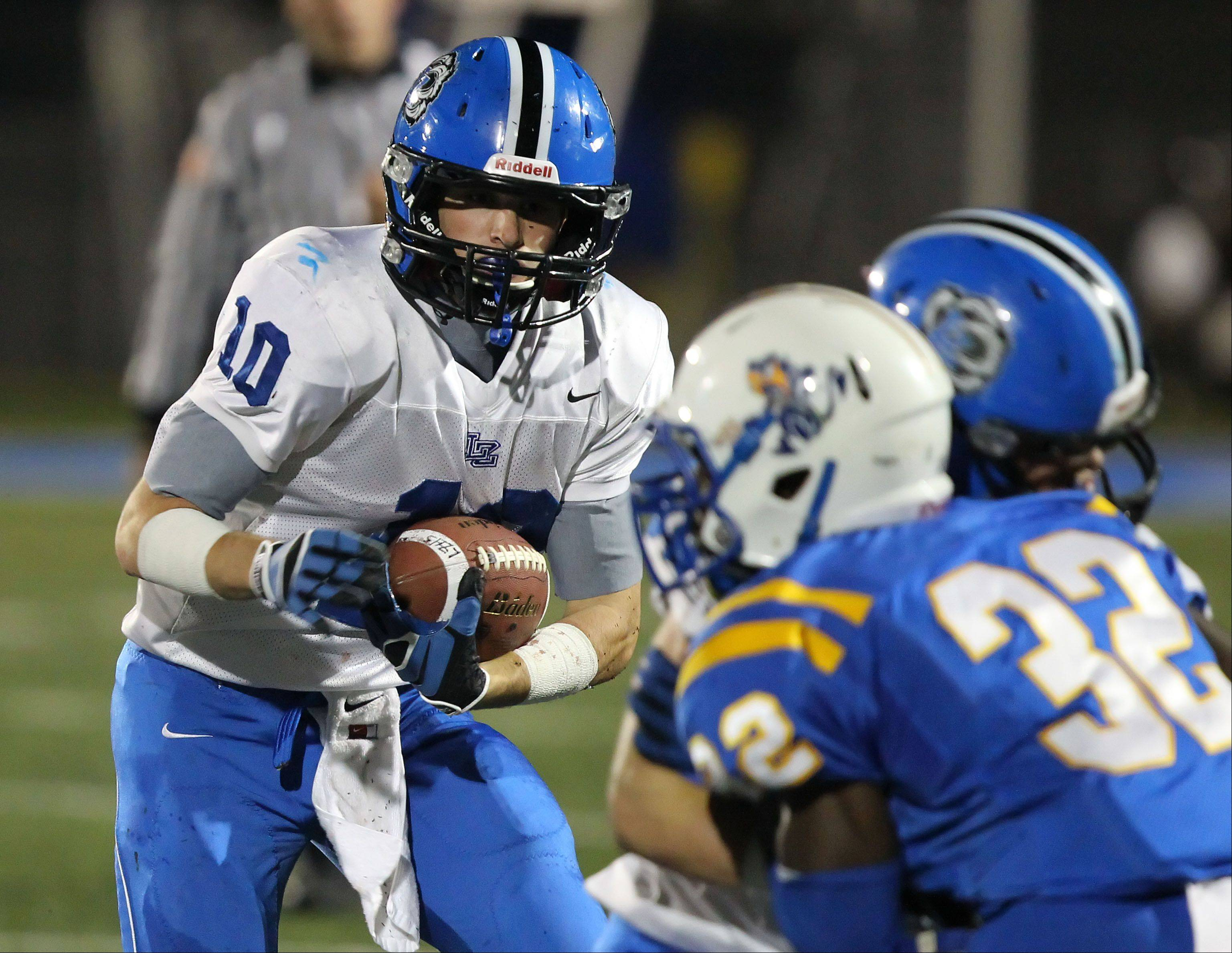Lake Zurich's Jake Stauner looks for an opening.
