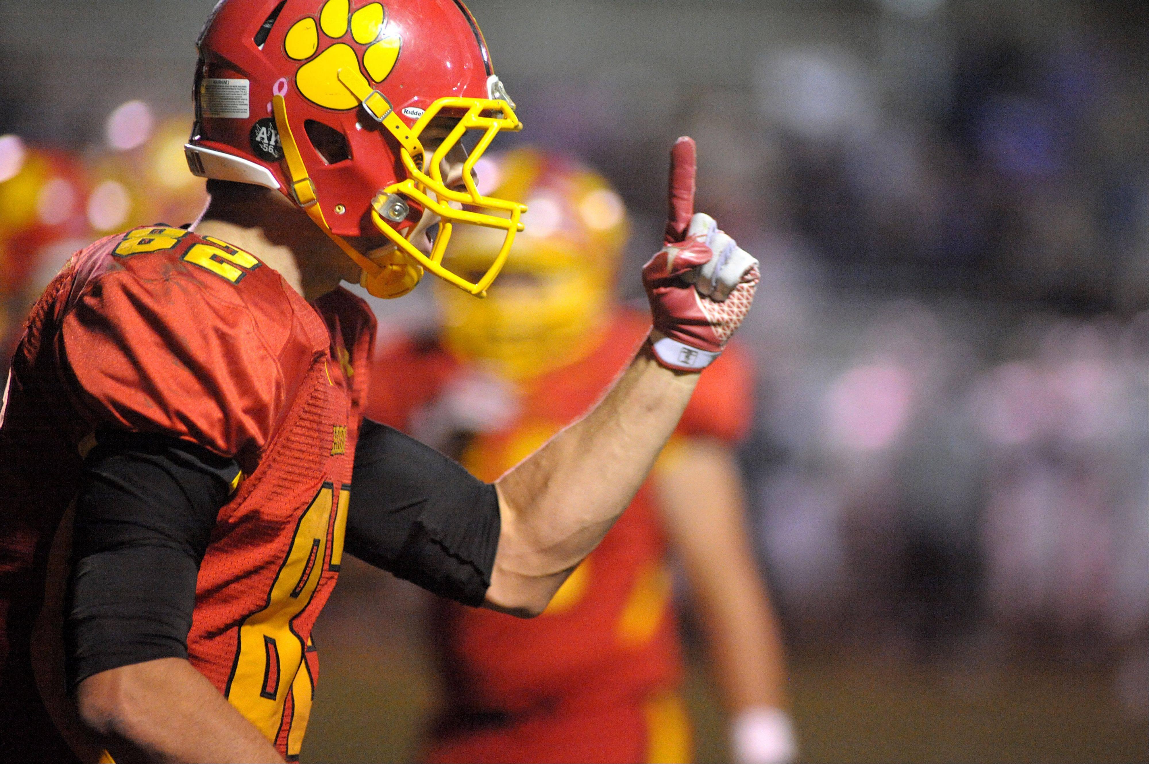 ]Batavia's Zachary Strittmatter runs back to the sidelines after scoring a touchdown in the fourth quarter of playoff game on Friday, October 26.