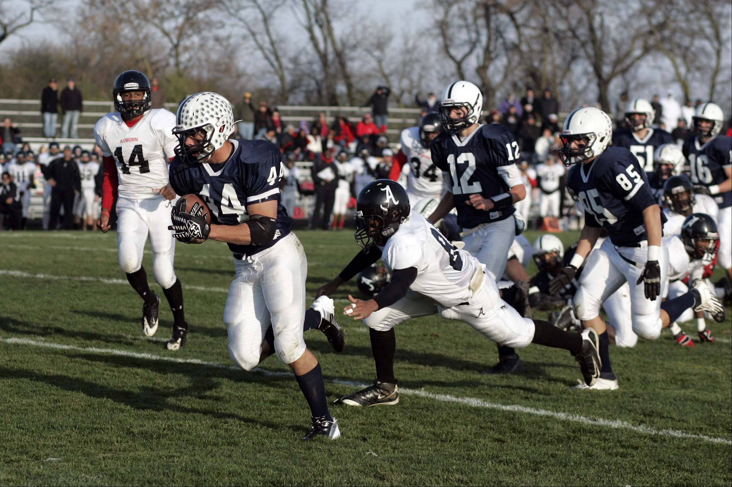 Cary-Grove's Kyle Norberg on his way to his first touchdown of the game during Rockford Auburn at Cary-Grove in IHSA Class 6A playoff Football Saturday October 27, 2012.