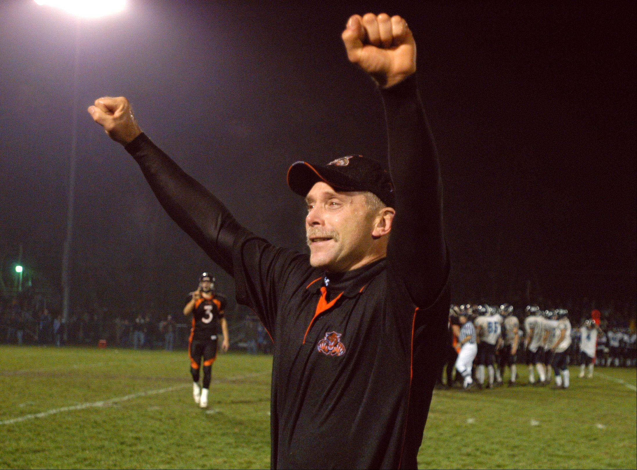 Former Libertyville football head coach Randy Kuceyeski, here celebrating at playoff victory against Prospect, is headed for the Lake County High Schools Sports Hall of Fame.