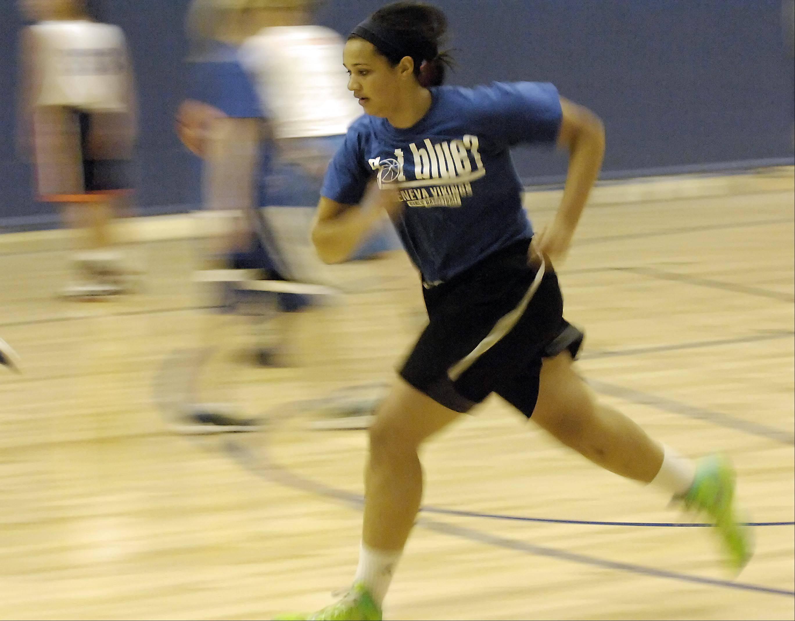 Sidney Santos during the Geneva Vikings girls basketball team practice Monday.