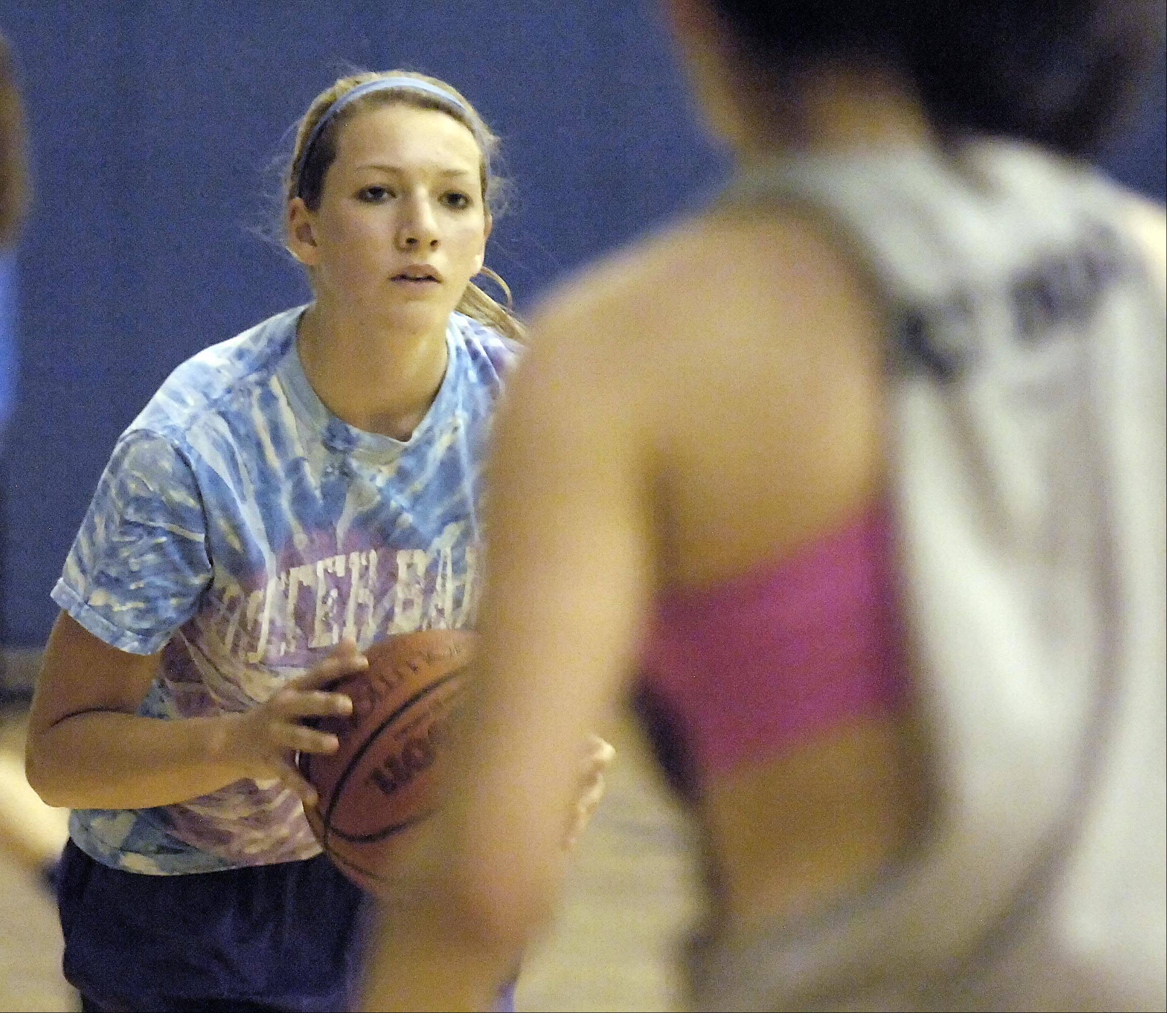 Michaela Loebel at the Geneva Vikings girls basketball team practice Monday.