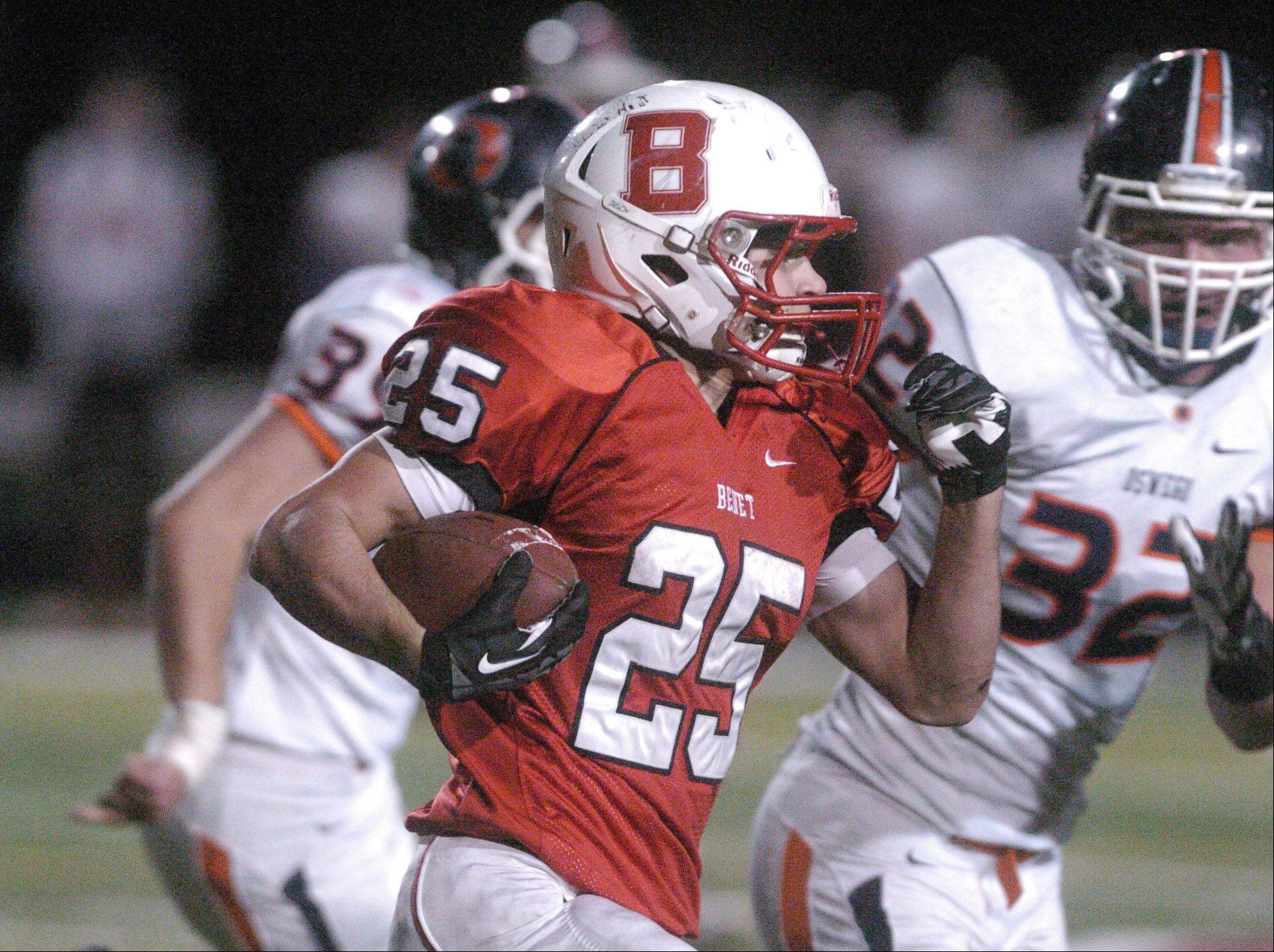 Porter Ontko of Benet runs the ball.