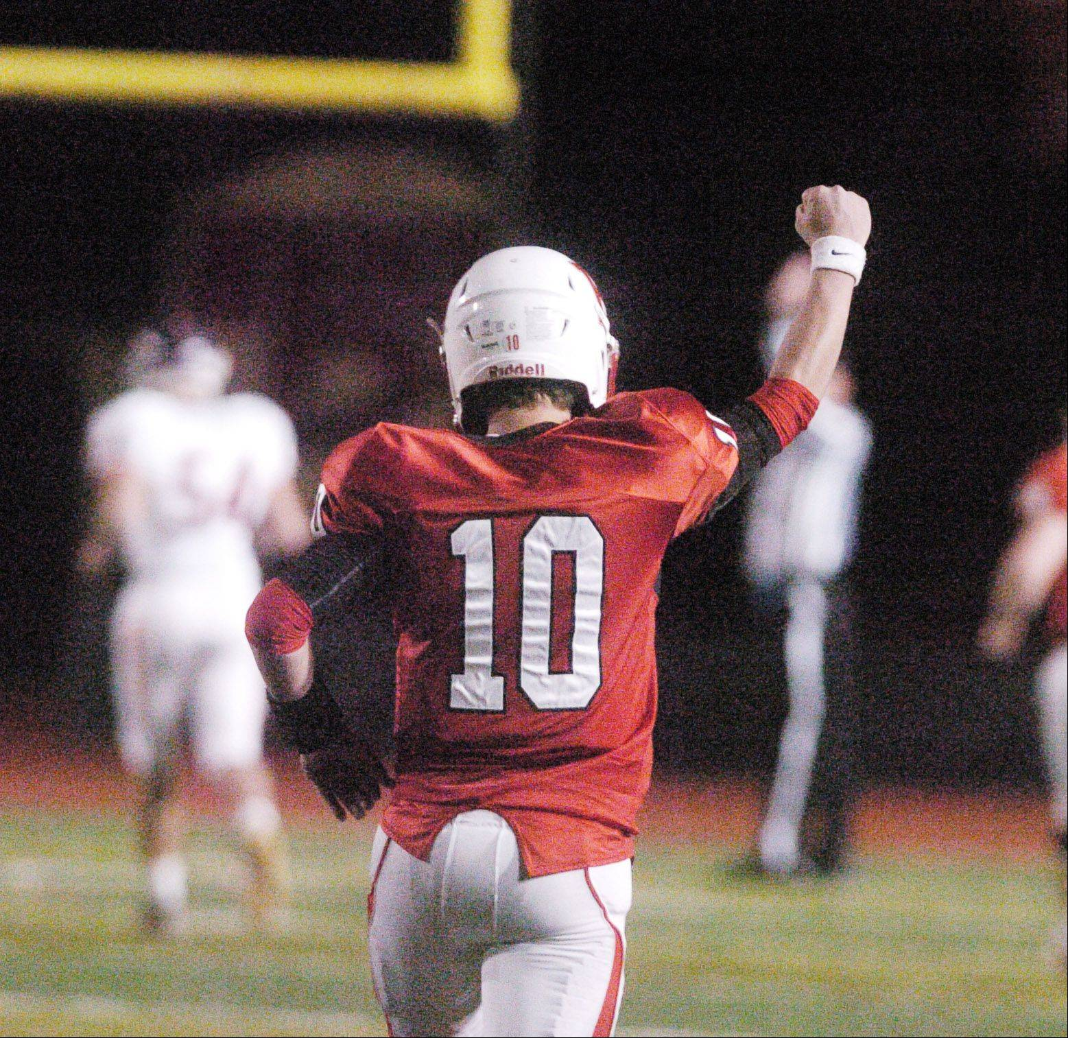 JT Crosby of Benet celebrates a touchdown.