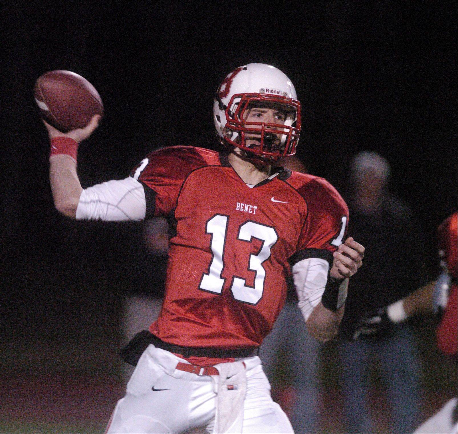 Jack Beneventi of Benet Academy prepares to pass.