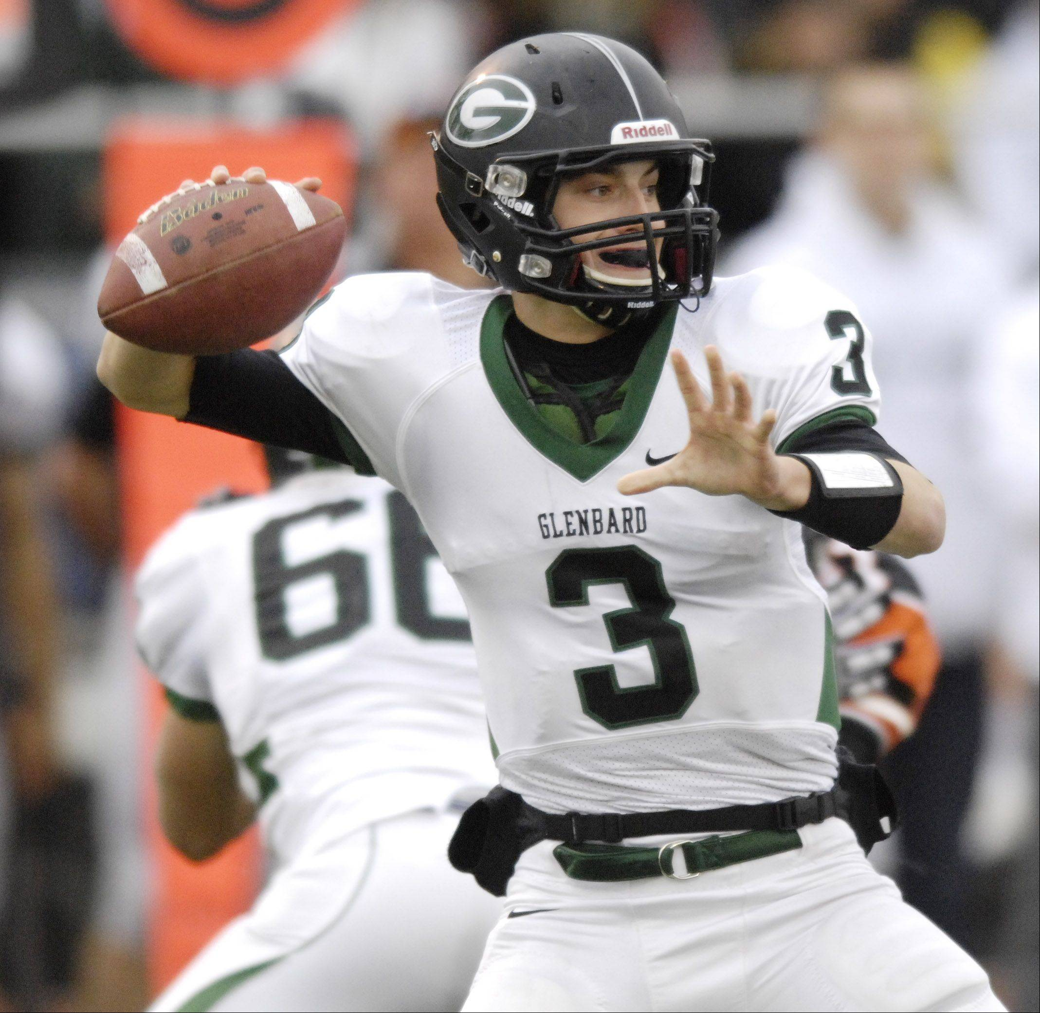 Glenbard West quarterback Henry Haeffner throws a pass during Saturday's game against Libertyville.