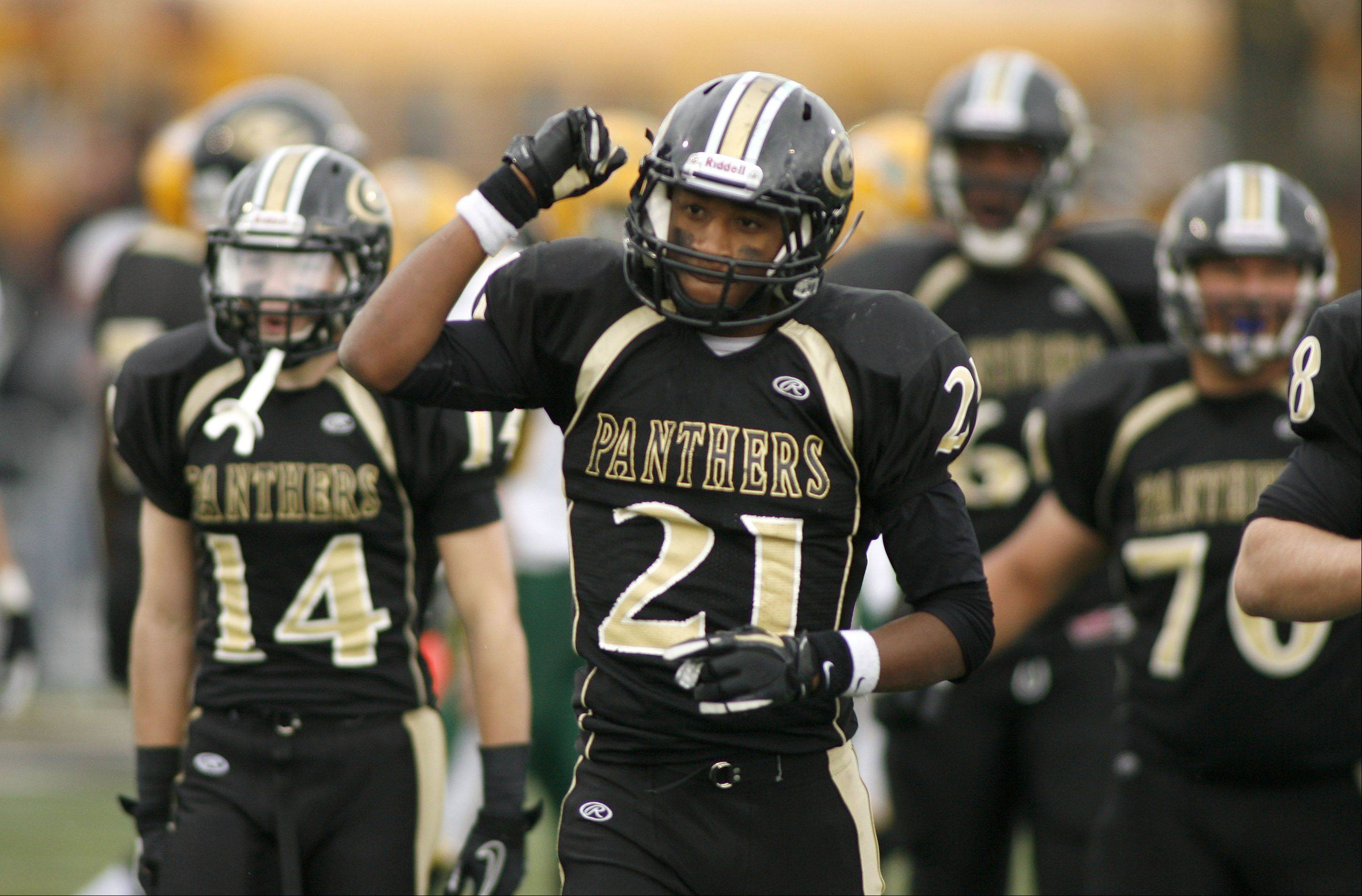 Glenbard North's Justin Jackson celebrates a victory over Stevenson, during second round Class 8A football playoffs.