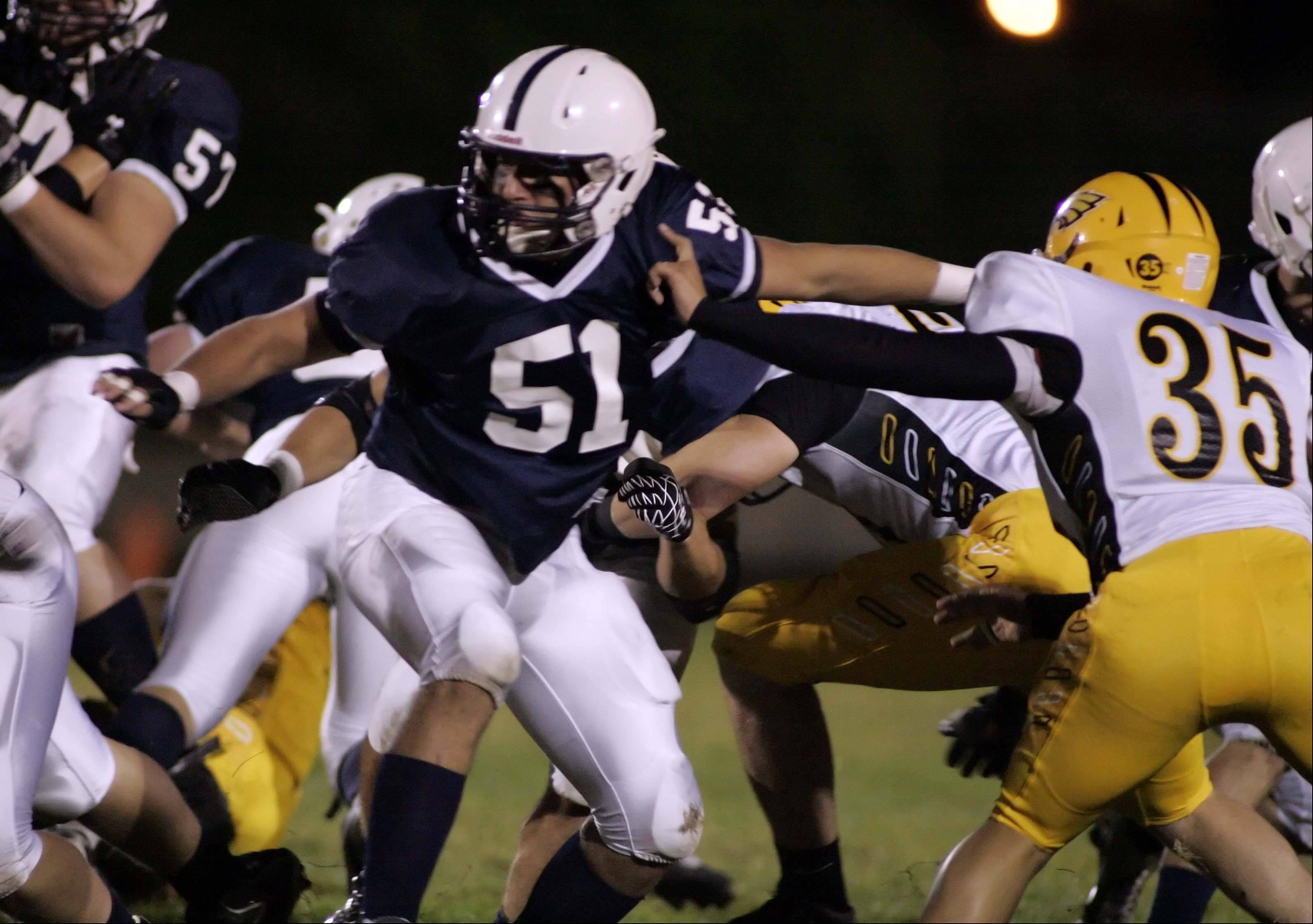 Senior Kyle Matthiesen (51) had been a big part of the Cary-Grove offensive line this season.