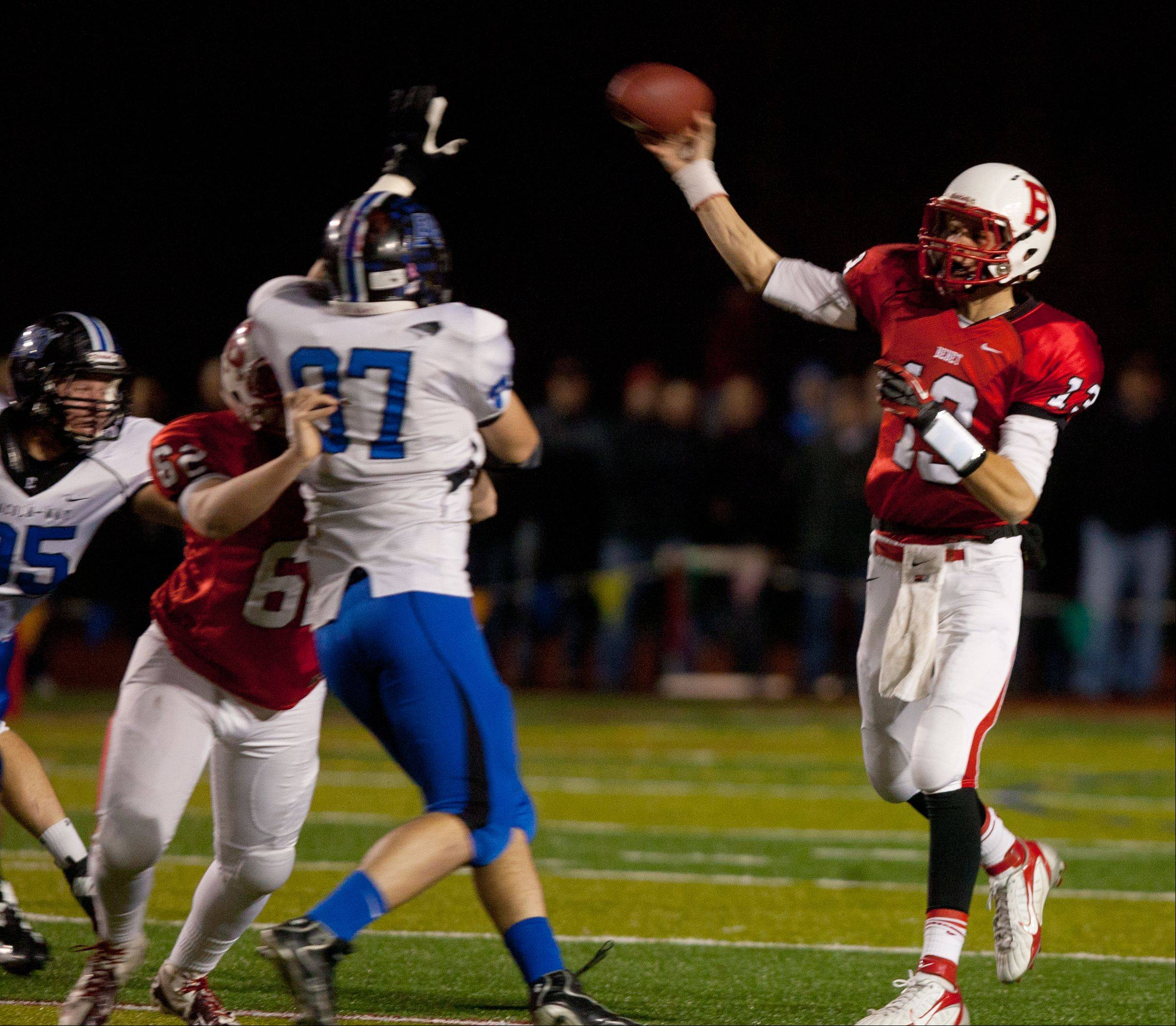 Benet quarterback Jack Beneventi throws for an incomplete pass against Lincoln-Way East during Class 7A football semifinals at Benedictine.