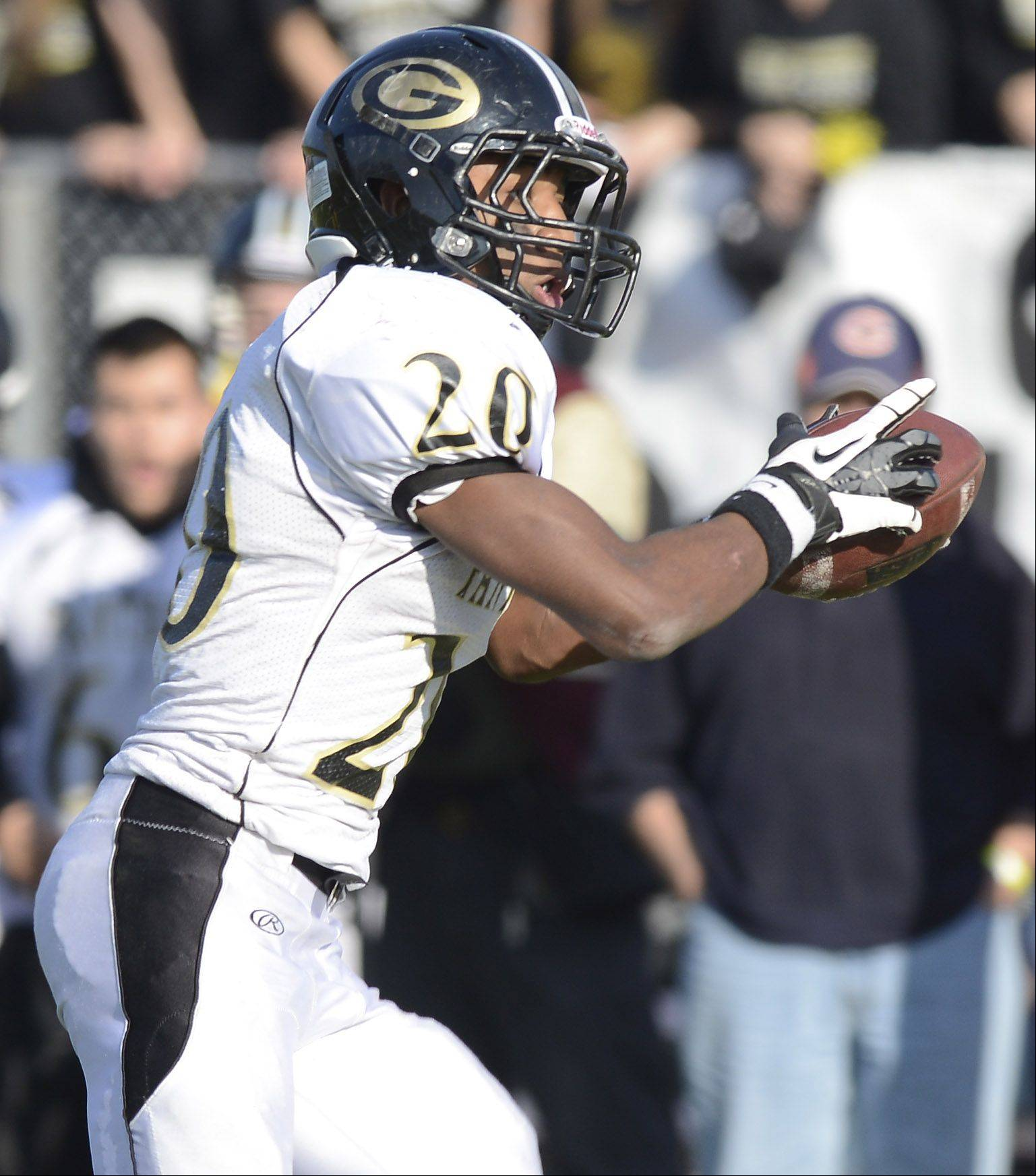 Glenbard North's Justin Jackson catches a touchdown pass during Saturday's class 8A football playoff semifinal against Loyola Academy.