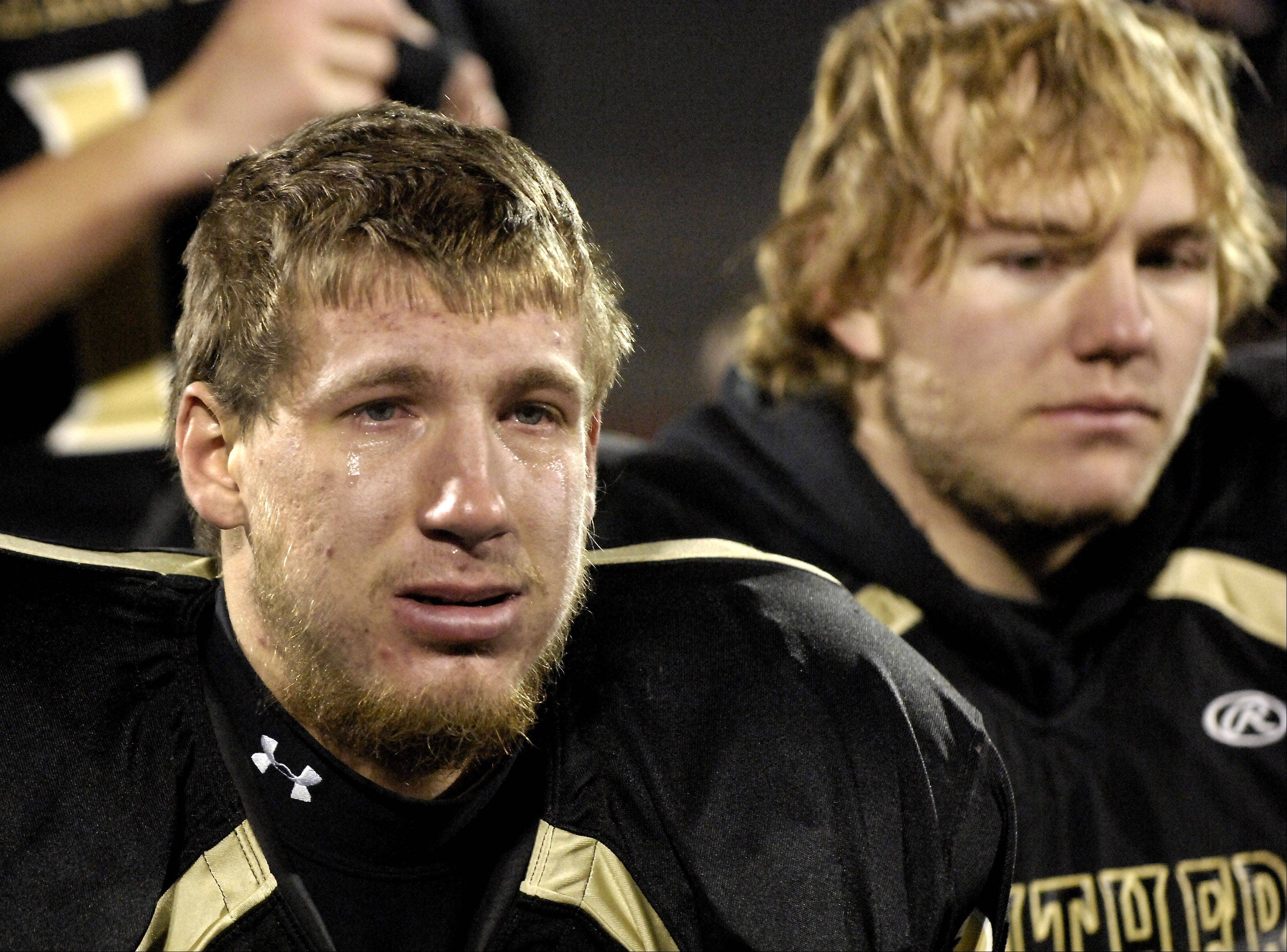 Tears stream down the cheeks of Glenbard North's Jeff Lapage following the Panthers loss to Mt. Carmel Saturday's Class 8A state title game at Memorial Stadium in Champaign.
