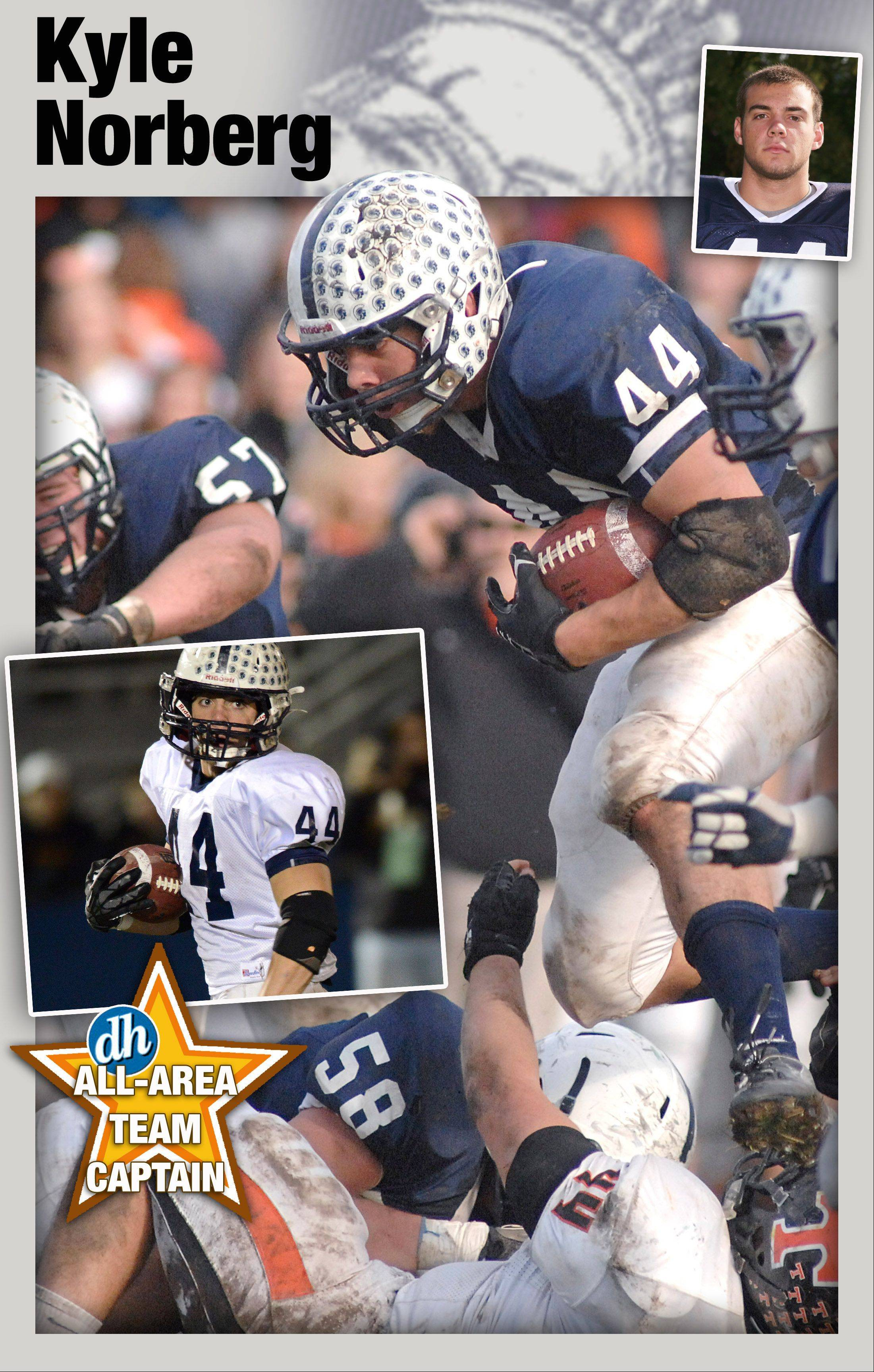 The Daily Herald football all-area team captain for the Fox Valley in 2012 is Cary-Grove's Kyle Norberg.