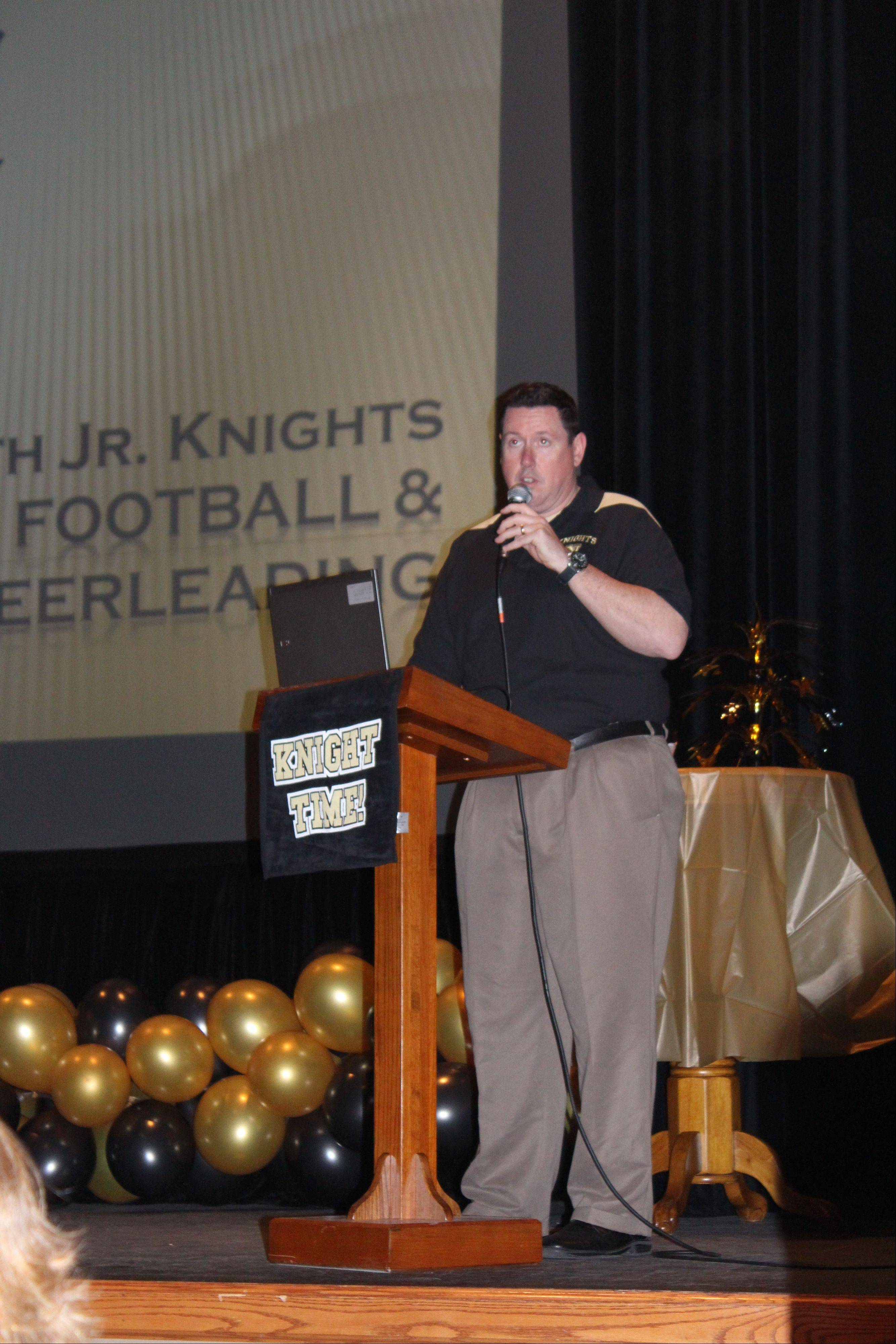 Matt Mader, vice president of the Jr. Knights, emceed a community information night about the program Wednesday.