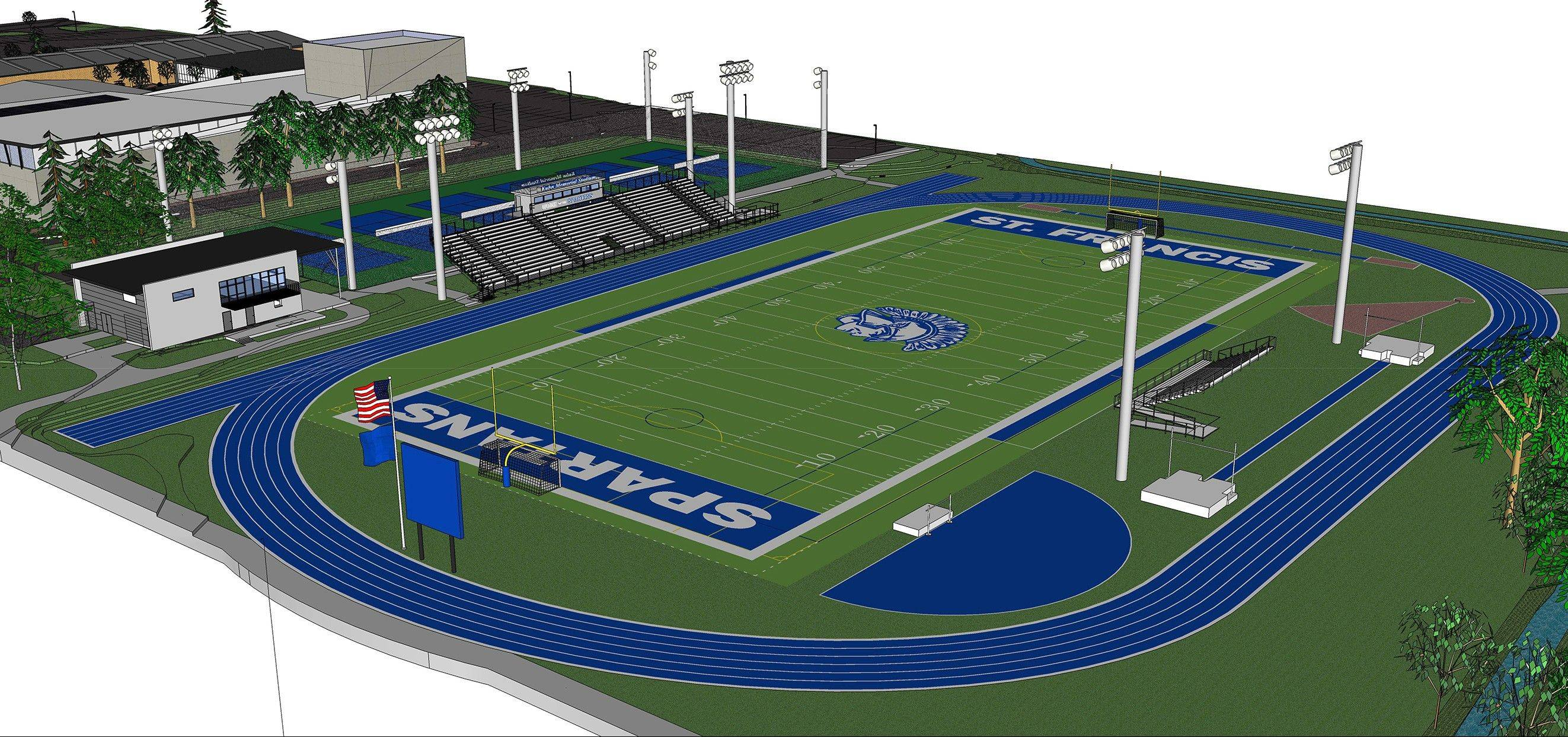 A rendering of the St. Francis High School stadium project.