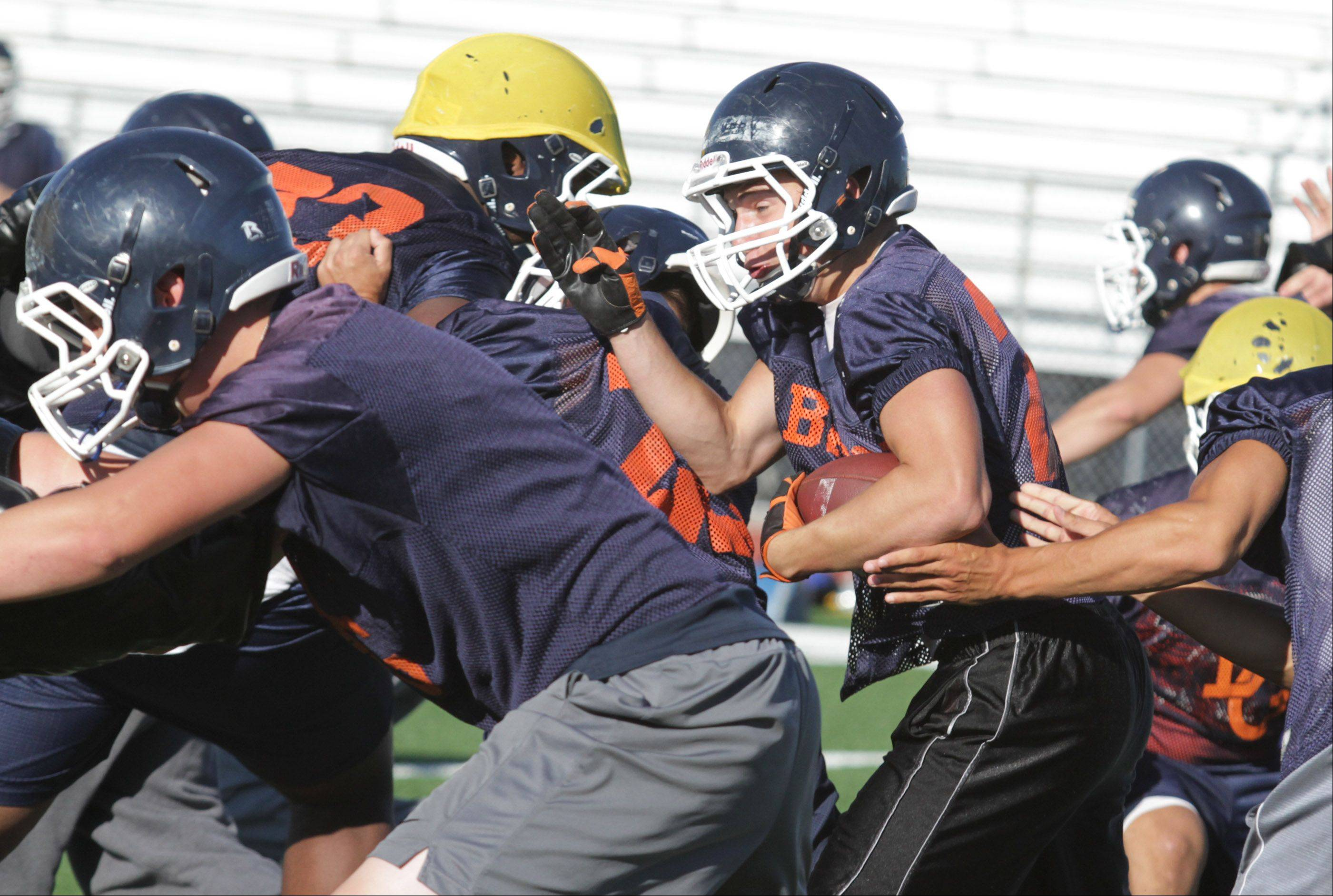 Buffalo Grove High School fullback Scott Smitheren runs the ball.