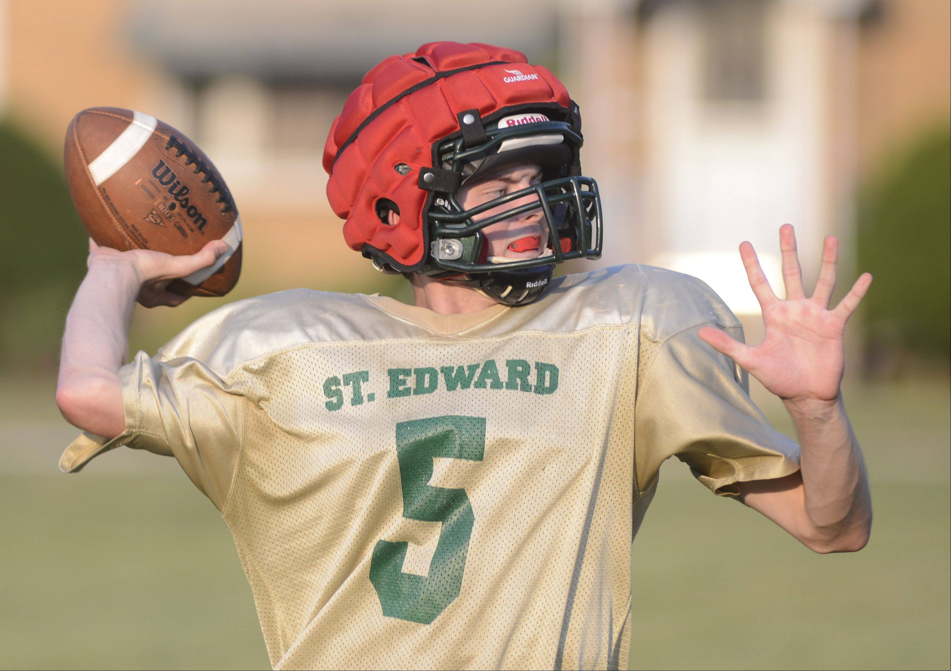 St. Edward quarterback Bryan O'Neill throws a passes during practice.